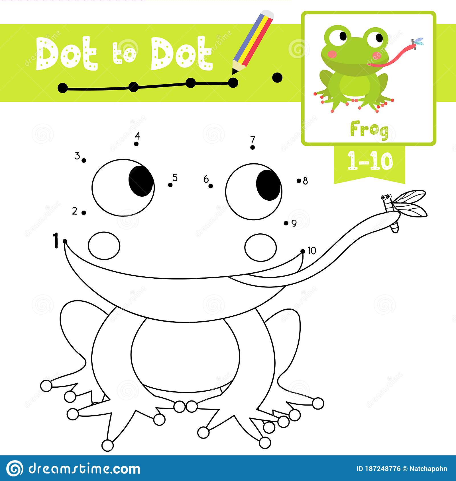 Dot To Dot Educational Game And Coloring Book Frog Eating