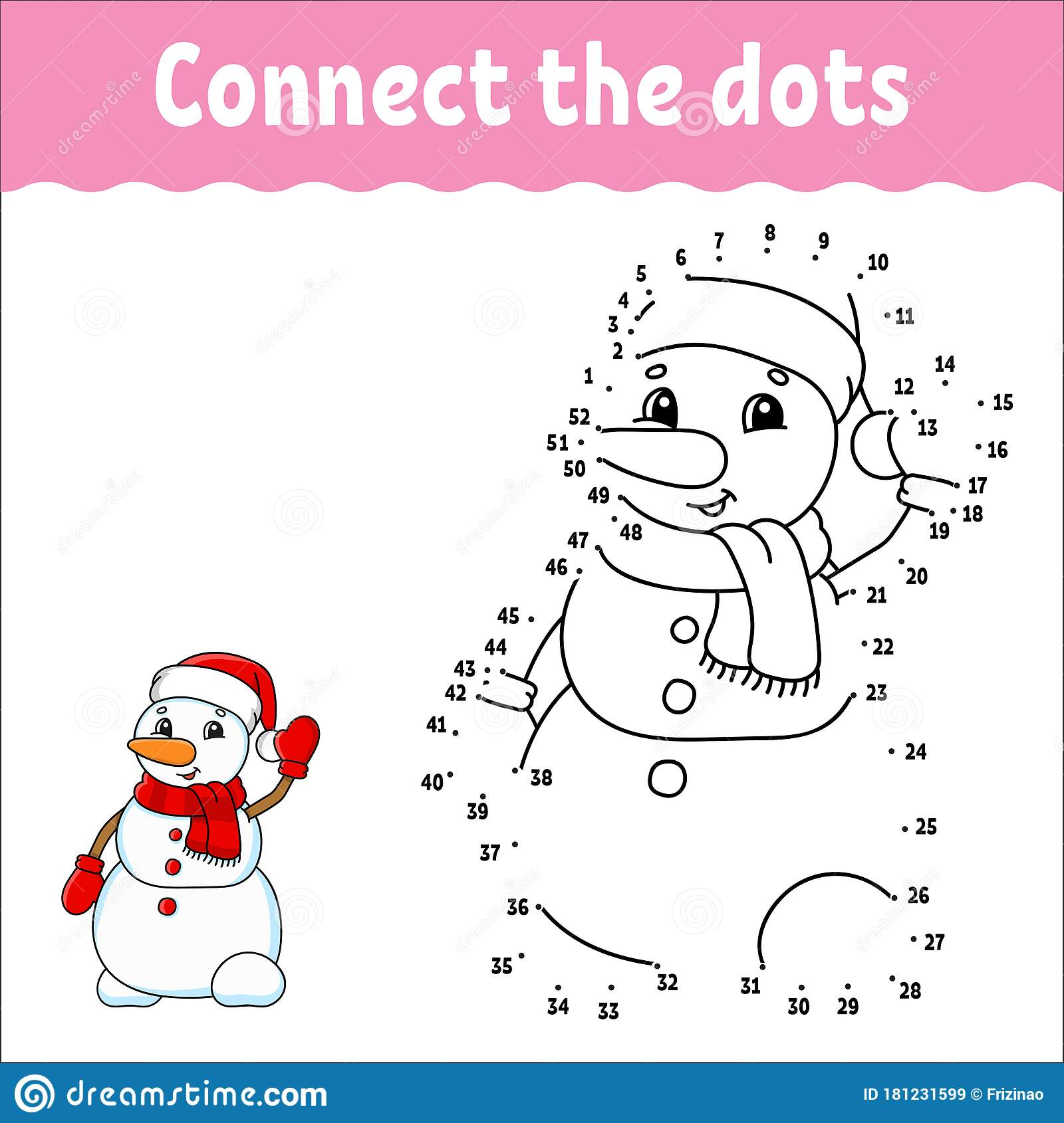 Cartoon Snowman Coloring Book And Dot To Dot Game For