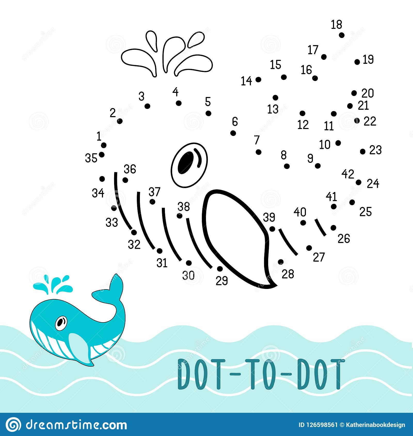 Dot To Dot Game Number Connect Dots Whale Stock Vector