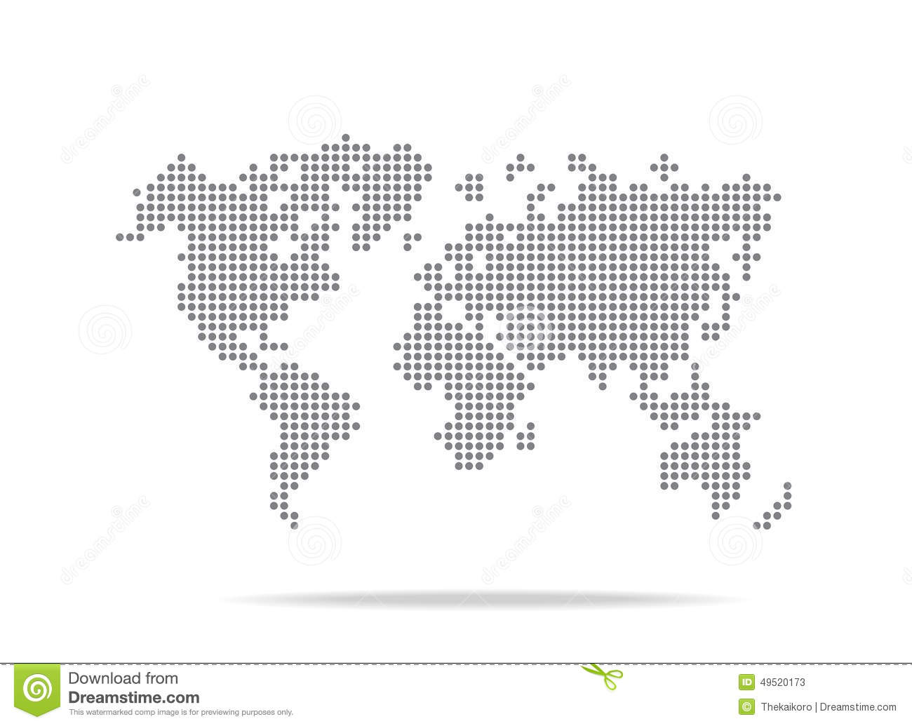 Dot World Map Isolated On The White Background Stock