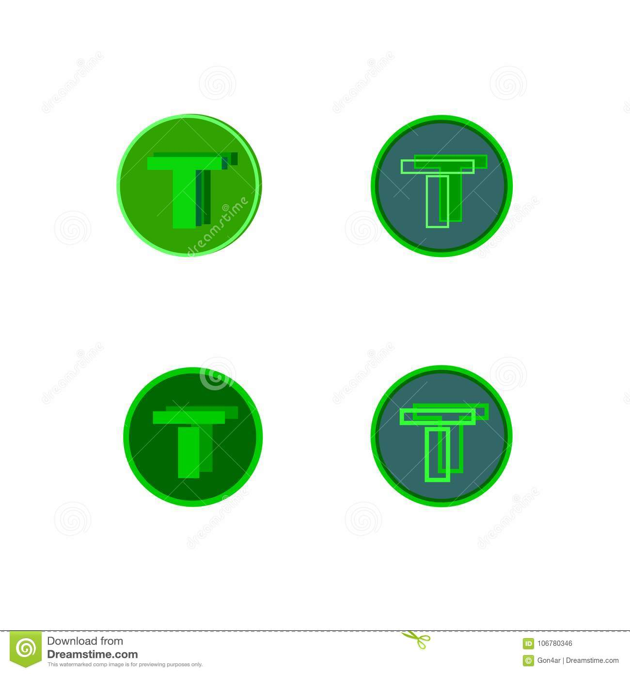 Double Letter Of The Alphabet T In A Green Circleur Layout On The Sheet Stock Vector