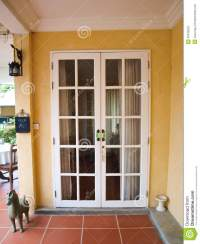 Double Patio White French Doors With Windows On Yellow ...