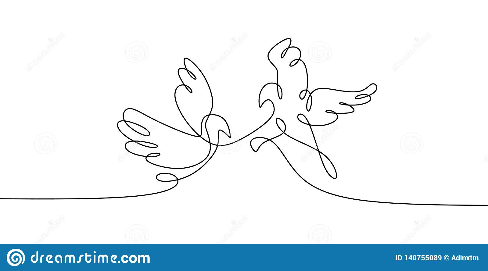 Dove Bird Concept Of Two Birds One Line Continuous Line