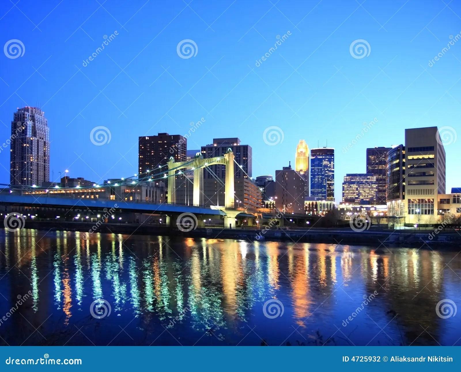 Downtown Minneapolis At Night Stock Photo  Image 4725932