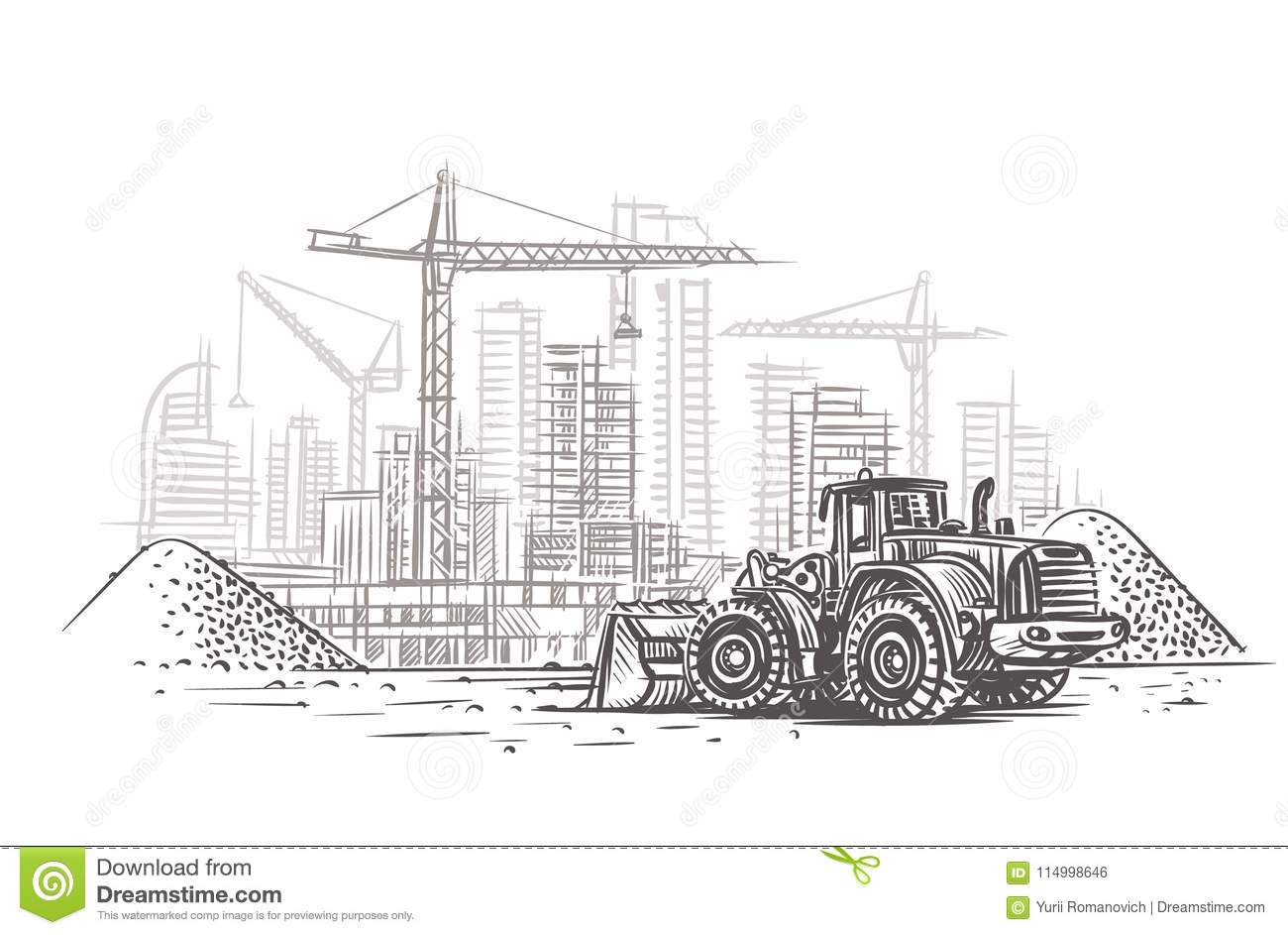 Dozer On Construction Site Sketch Vector Layered Stock Vector