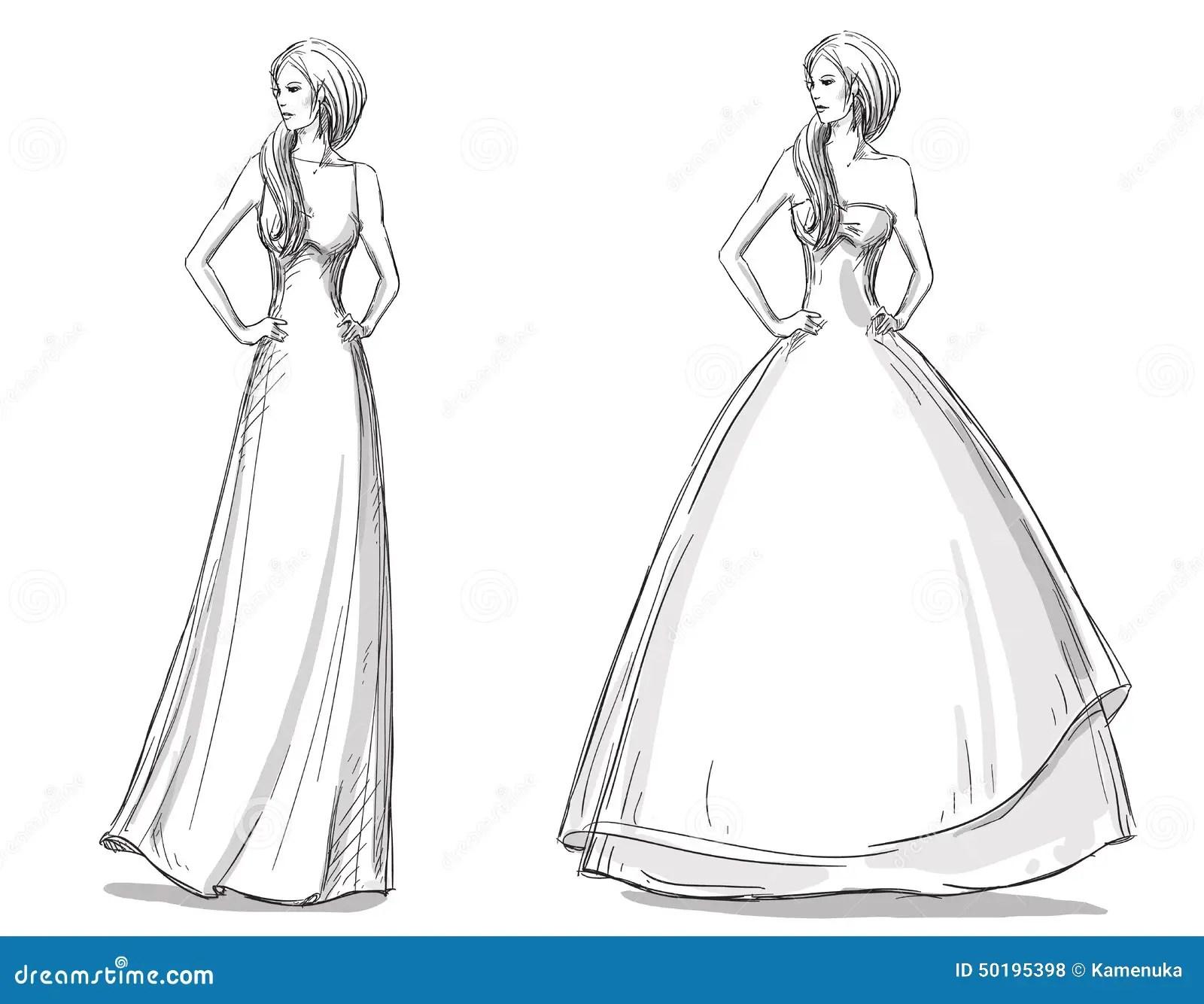 Dragen Illustration For Mode Hand Klanning Long Brud
