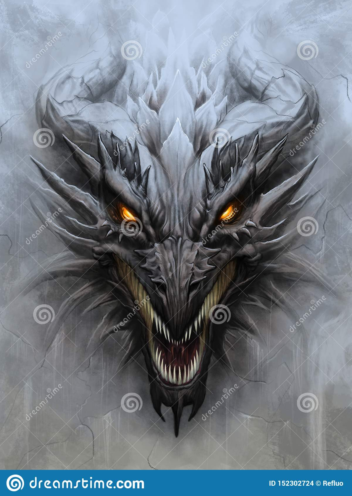Front Dragon Head Drawing : front, dragon, drawing, Dragon, Picture, Stock, Illustrations, 94,005, Illustrations,, Vectors, Clipart, Dreamstime
