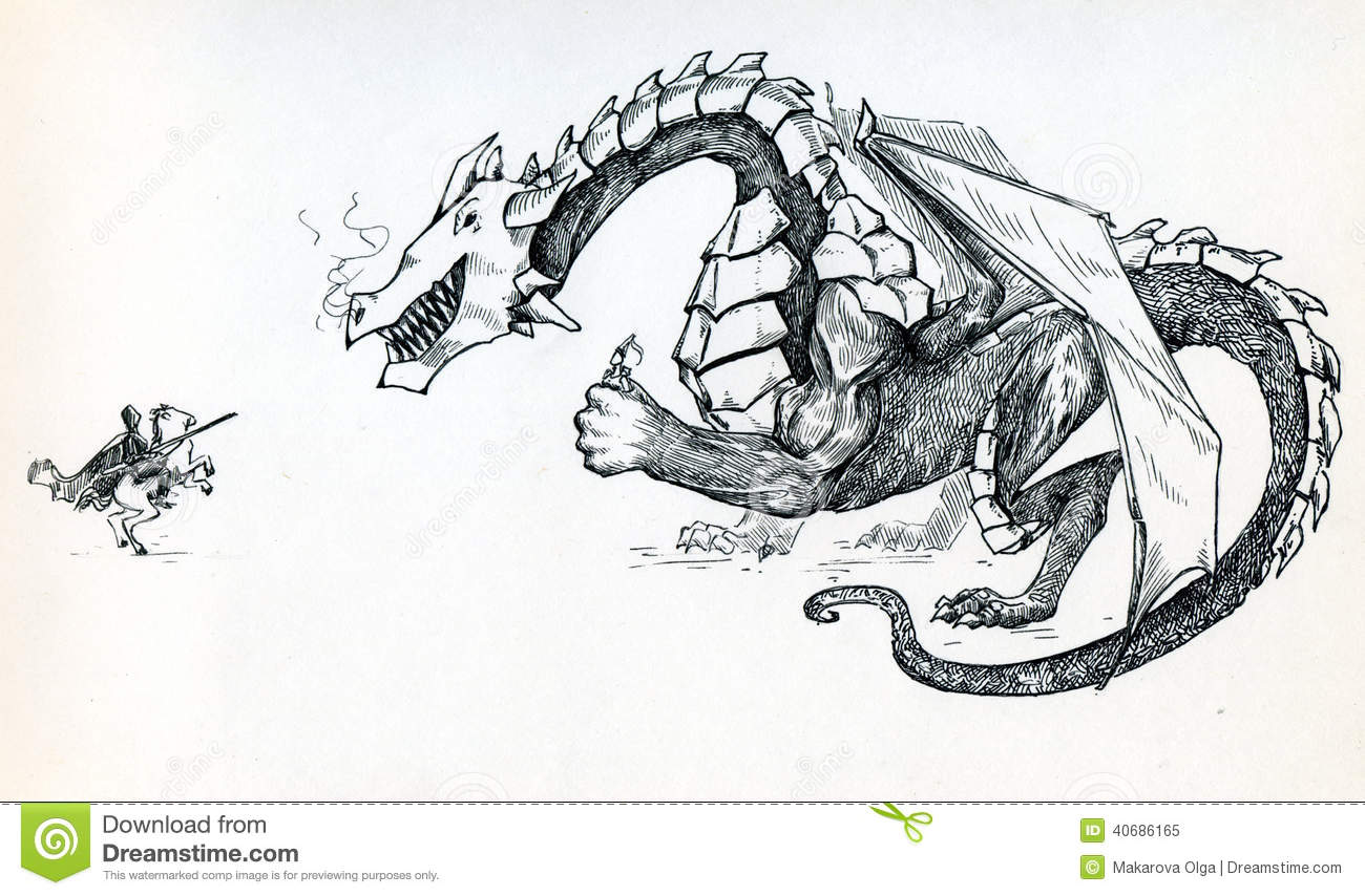Dragon Holding The Princess And Mocking The Knight Stock