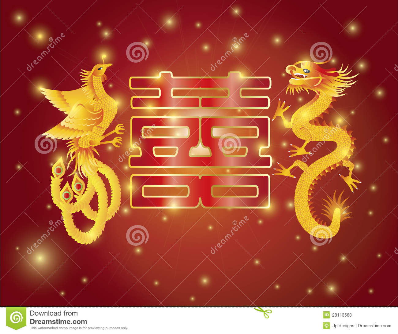 Dragon And Phoenix Double Happiness Red Background Stock
