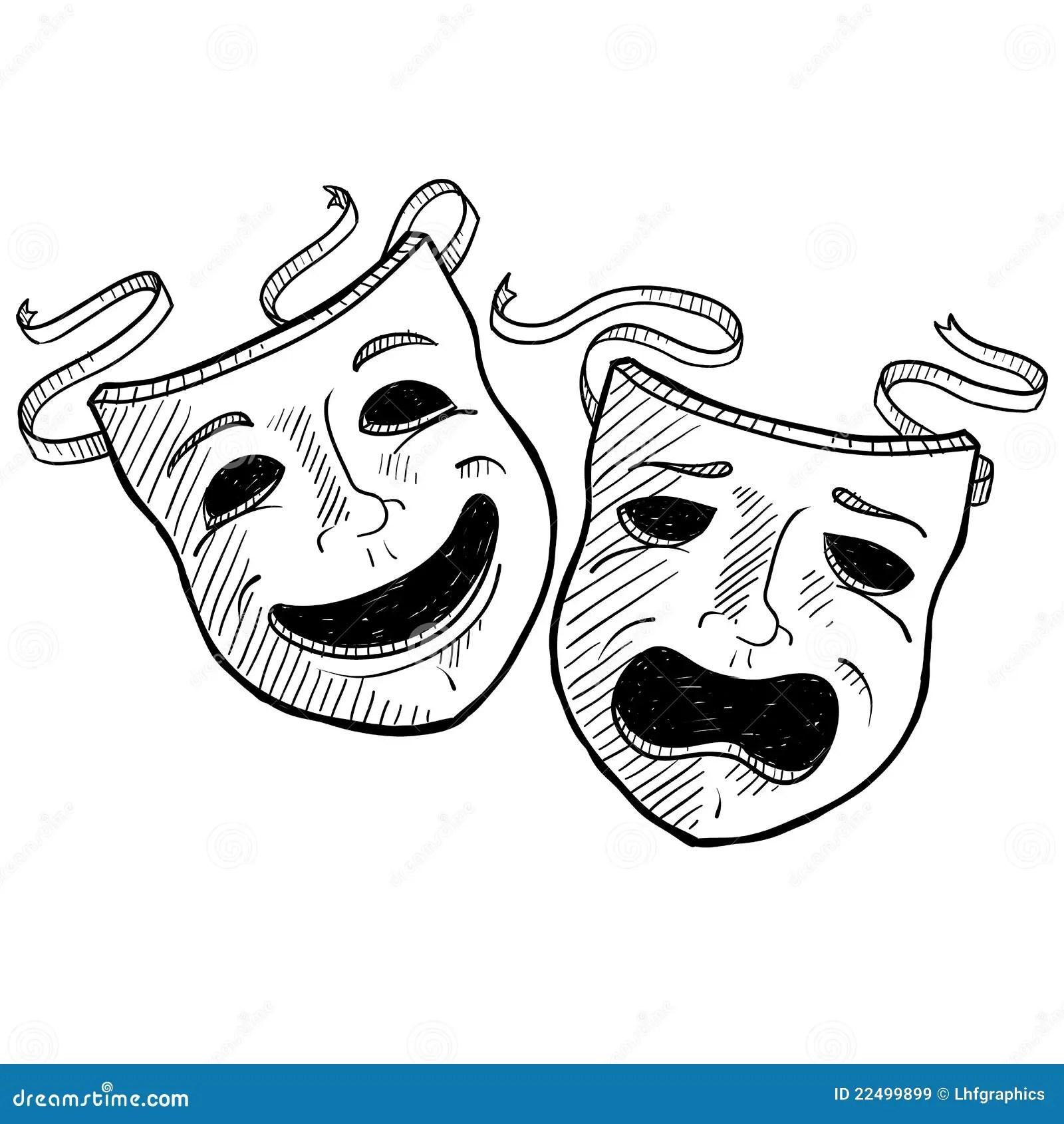 Drama Masks Sketch Royalty Free Stock Images