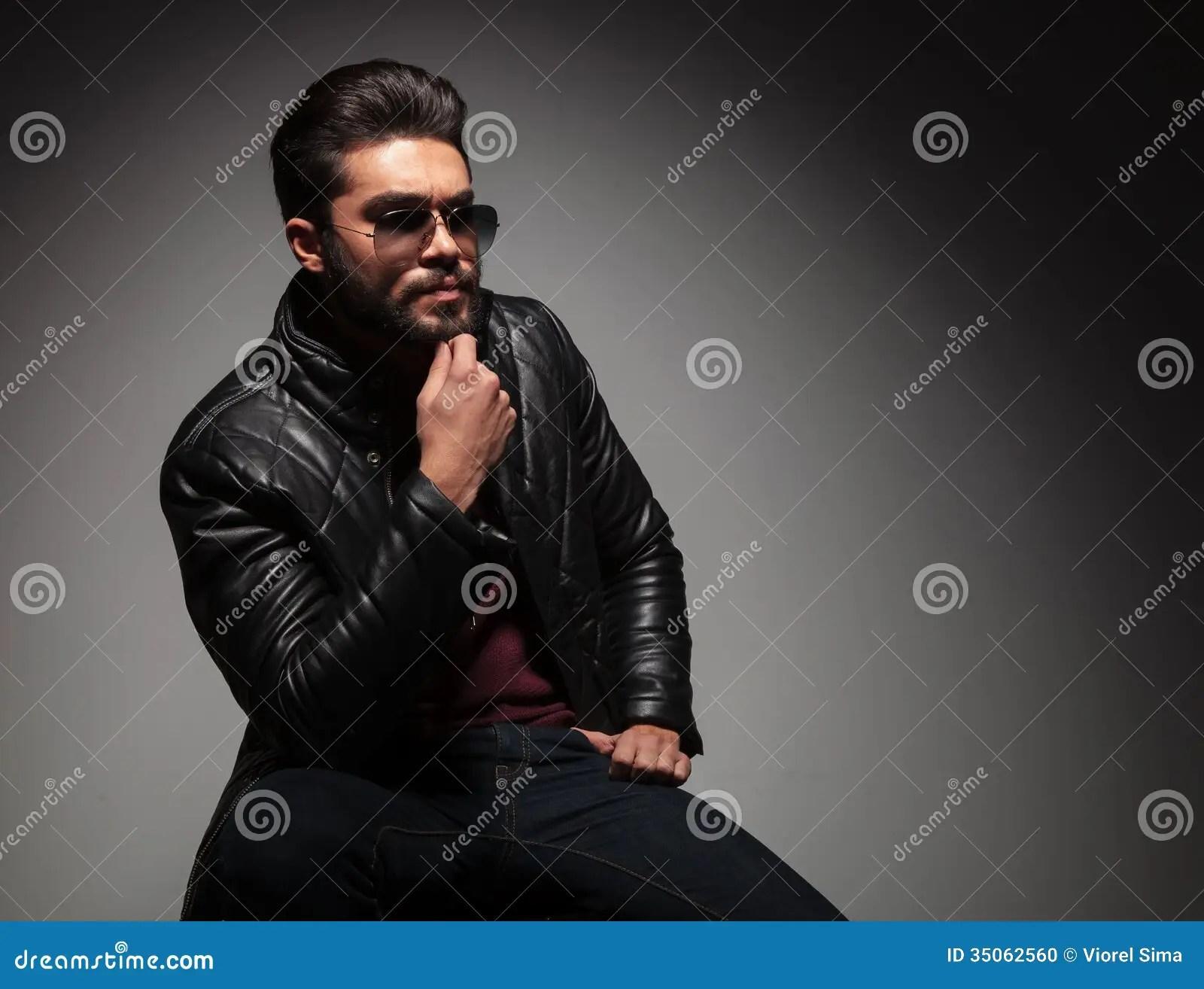 Dramatic Young Thoughtful Fashion Man With Long Beard