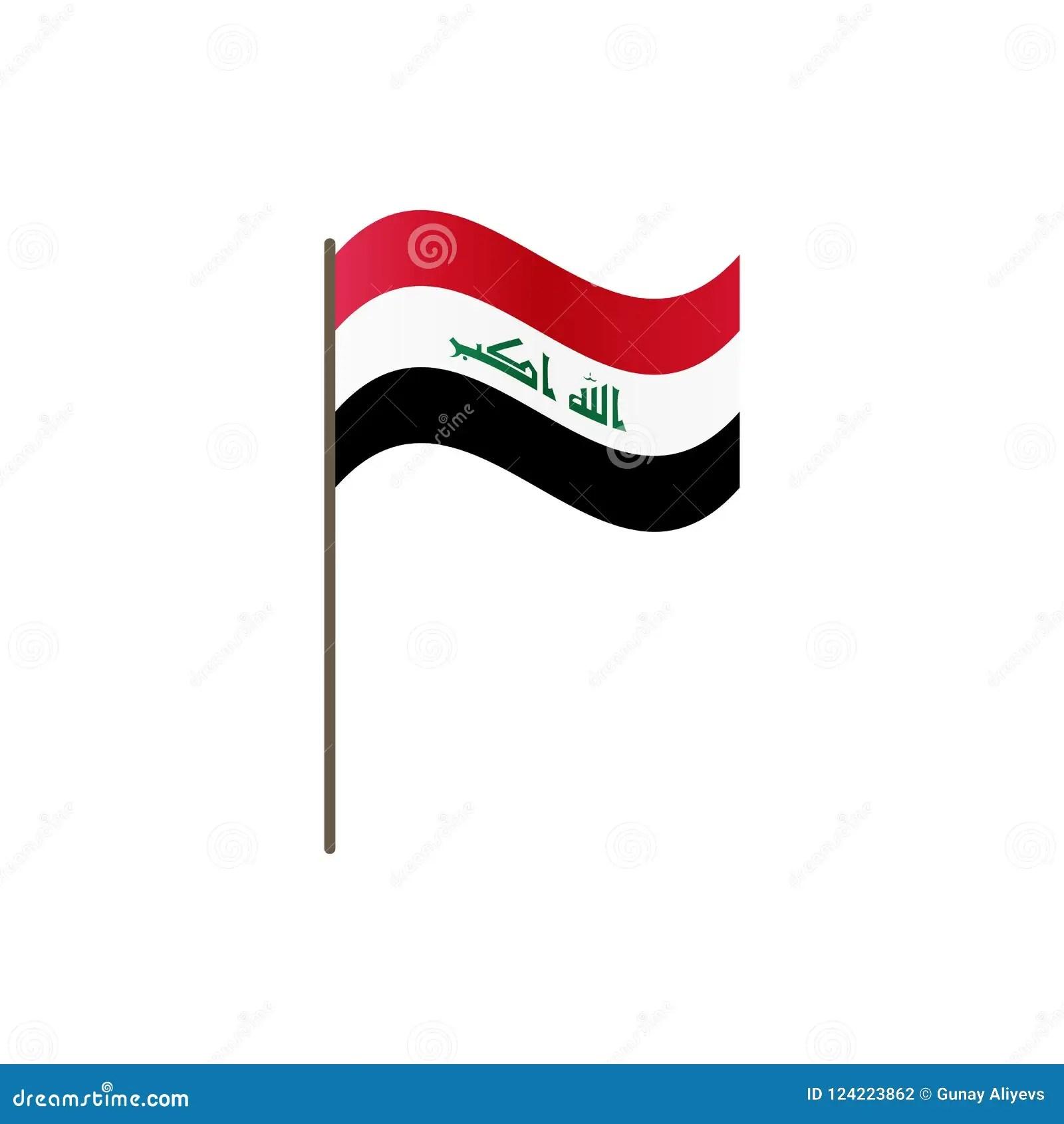 irak sur le mat de drapeau couleurs