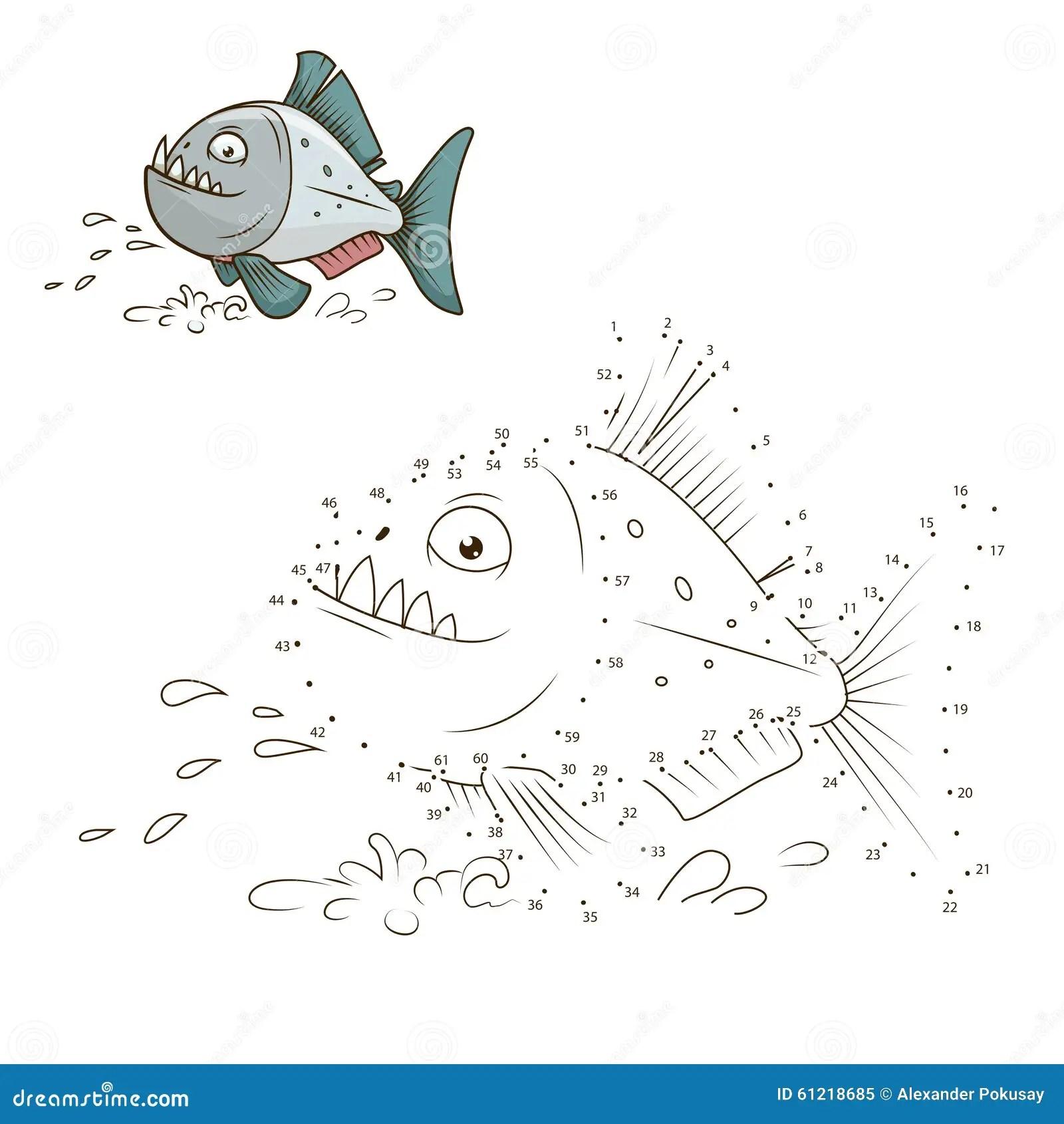 Draw The Animal Piranha Educational Game Vector Stock