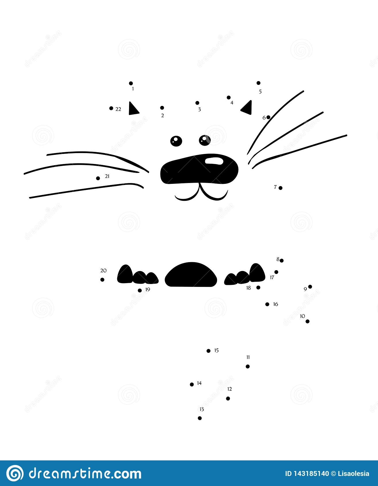 Draw A Cat Connect The Dots Cartoon Kitten Character For