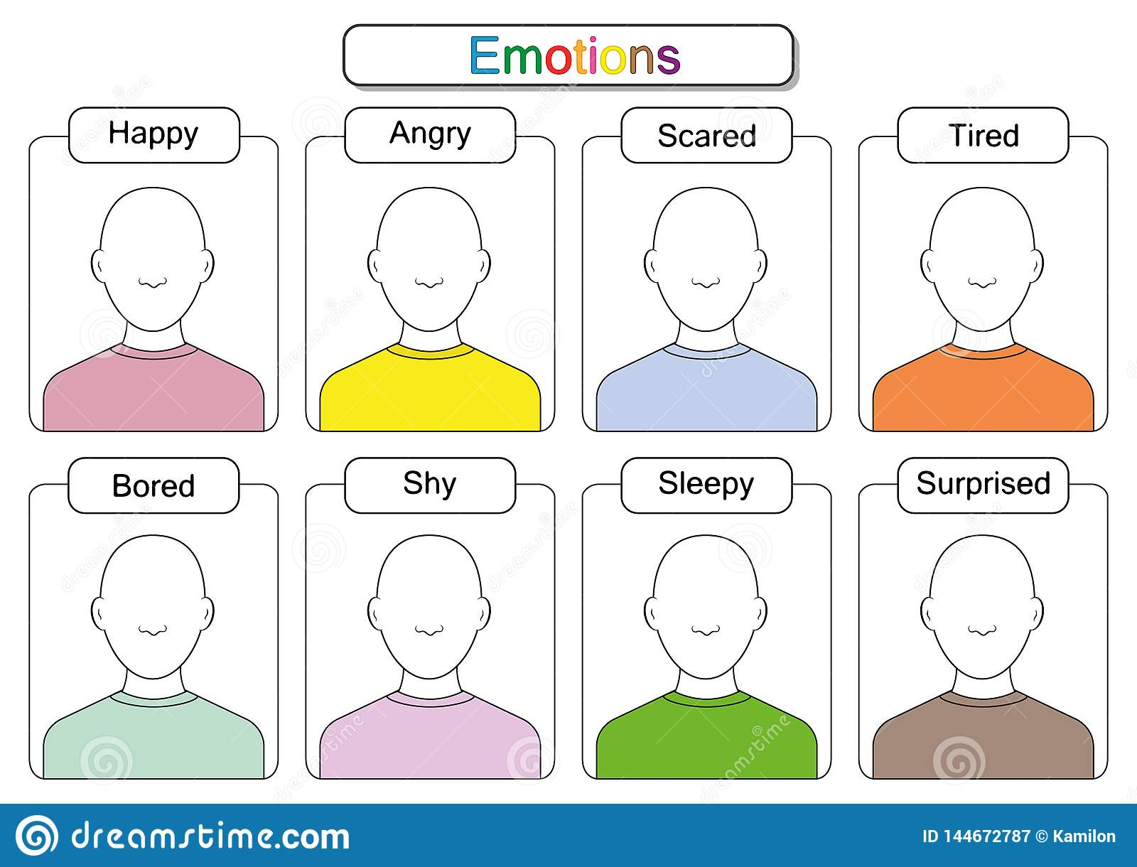 Children Are Learning Emotions Draw The Faces Draw The