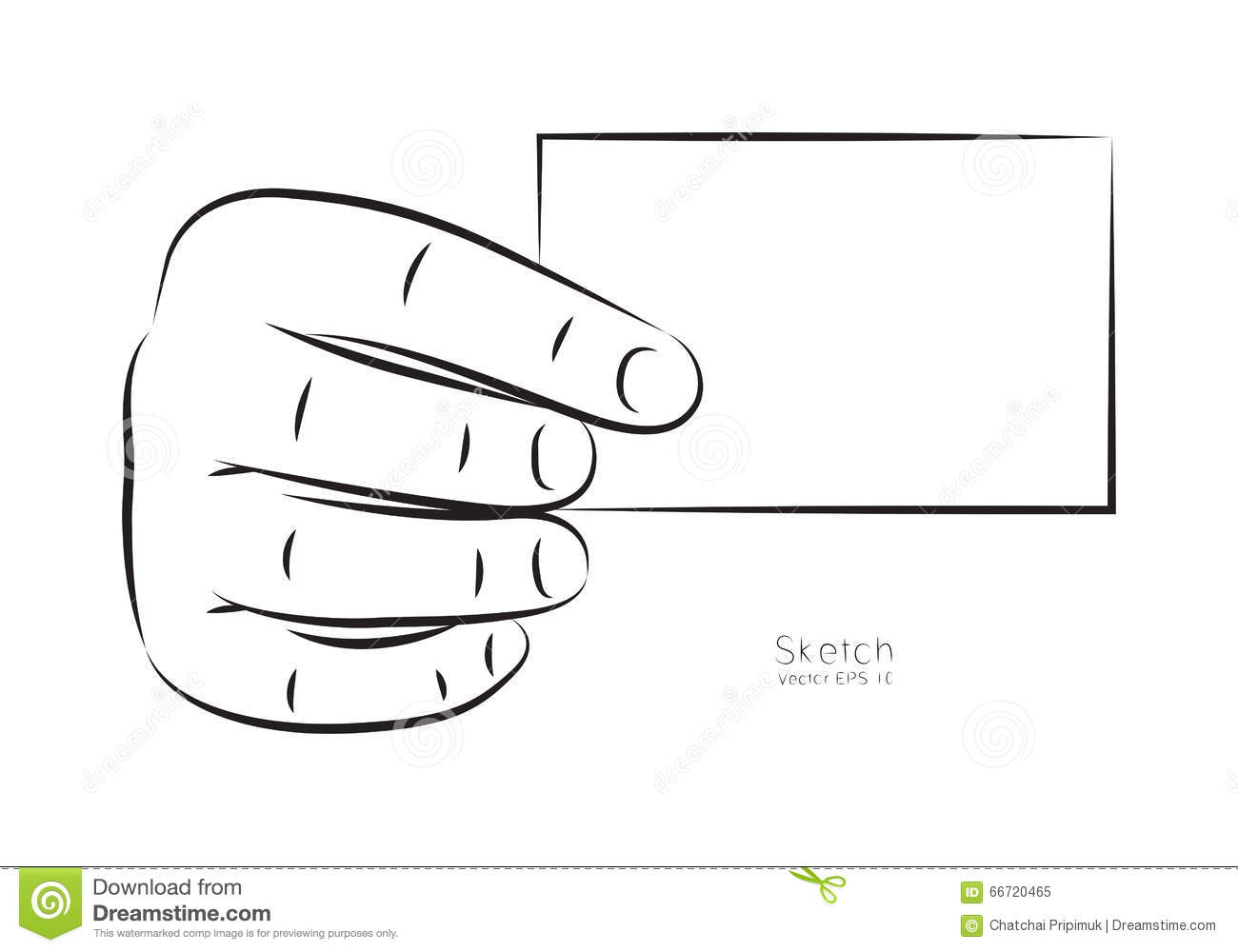 Draw Hand And Business Card Vector Stock Vector