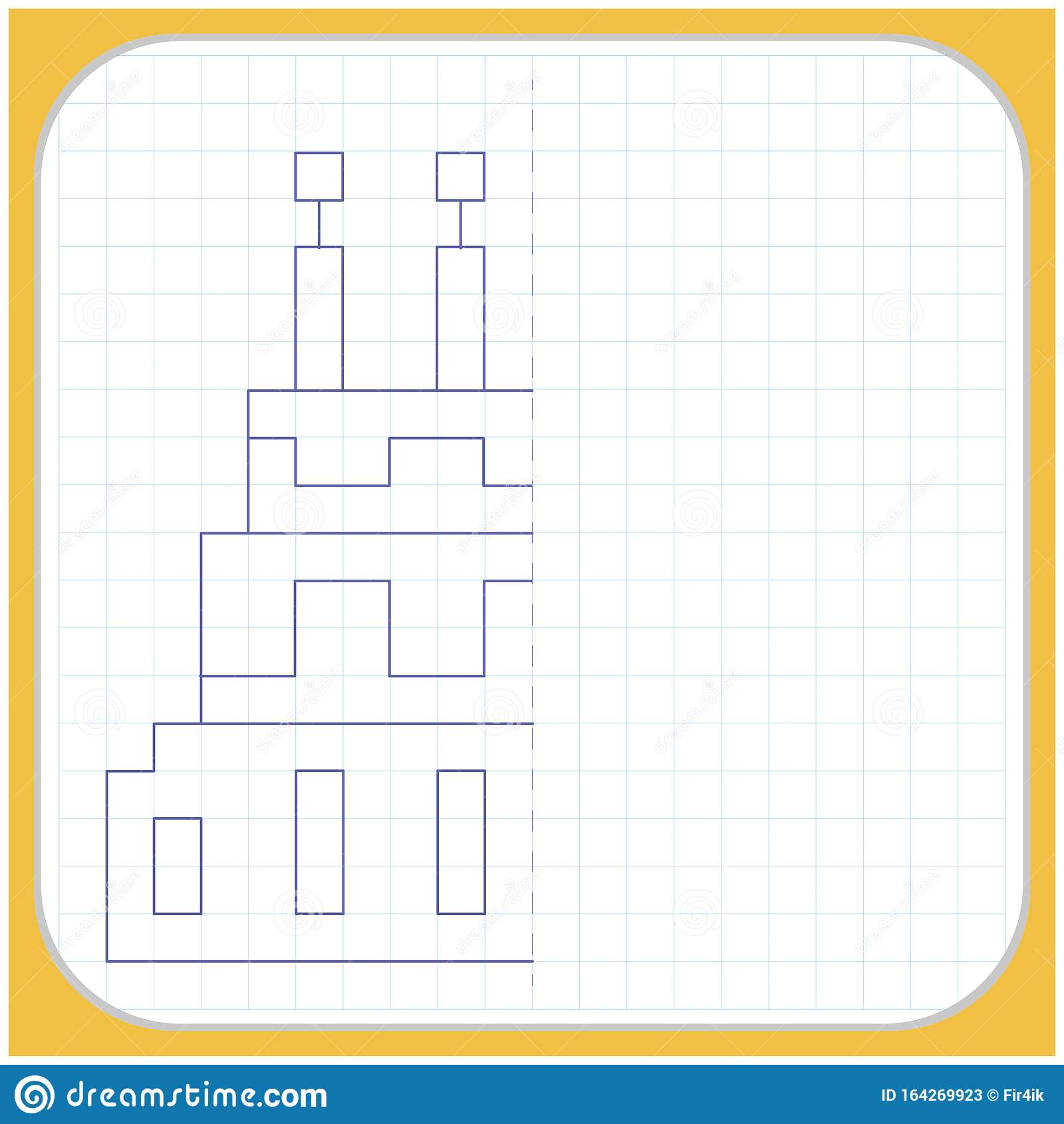 Draw A Reflection Of The Picture Worksheet For Kids Stock
