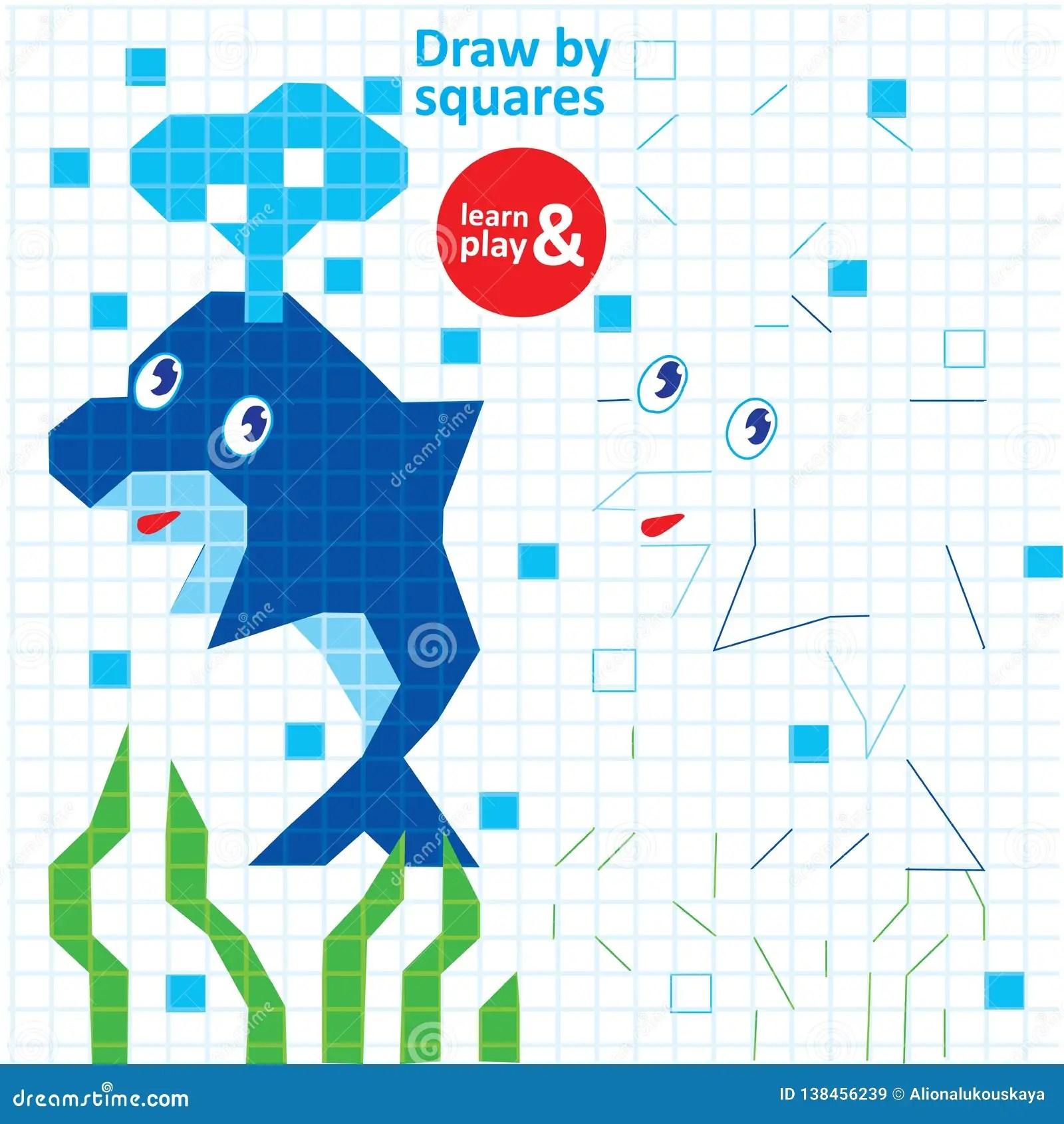 Draw Squares Dolphin Kid Game Printable Worksheet Stock