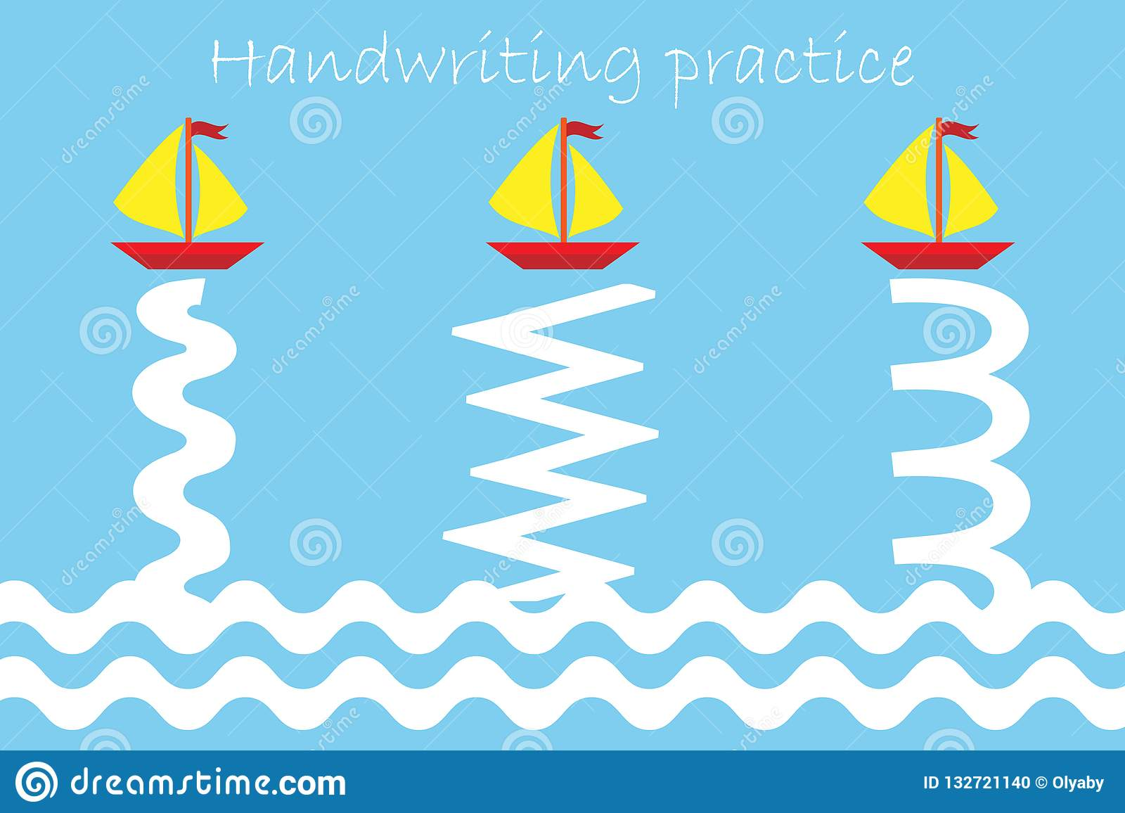 Draw Track Of Ships And Waves Handwriting Practice Sheet
