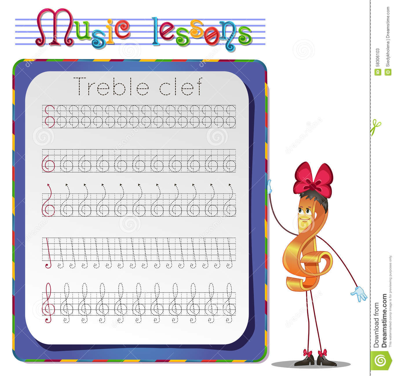 Draw A Treble Clef Stock Illustration