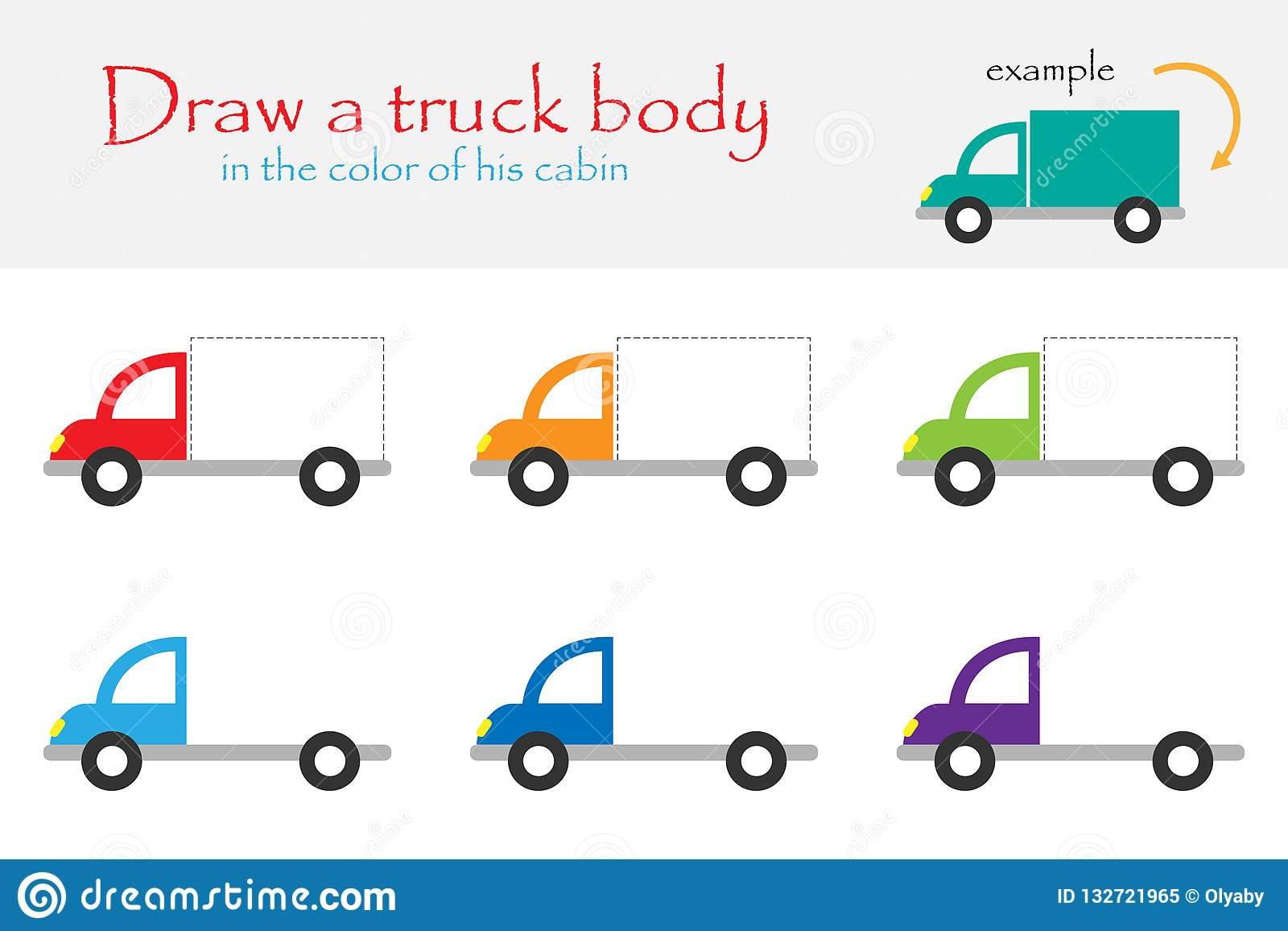 Draw A Truck Body In The Color Of His Cabin For Children