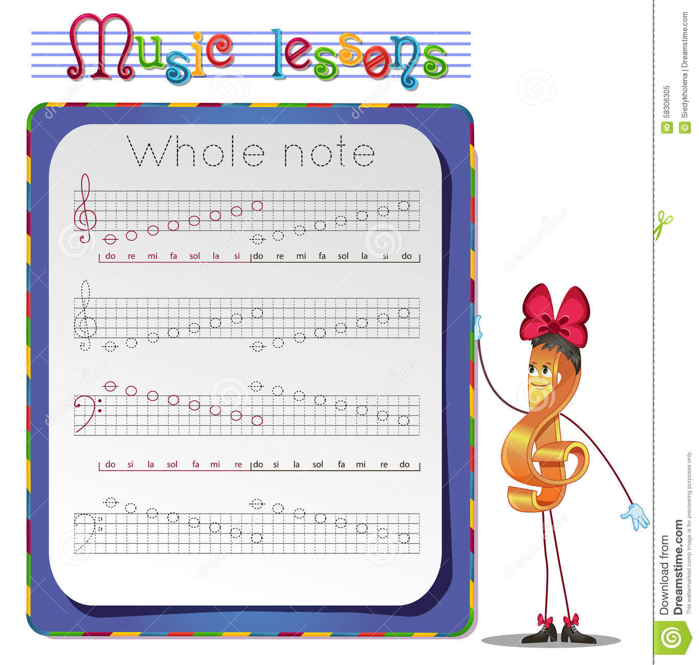 Draw A Whole Notes Stock Illustration Illustration Of