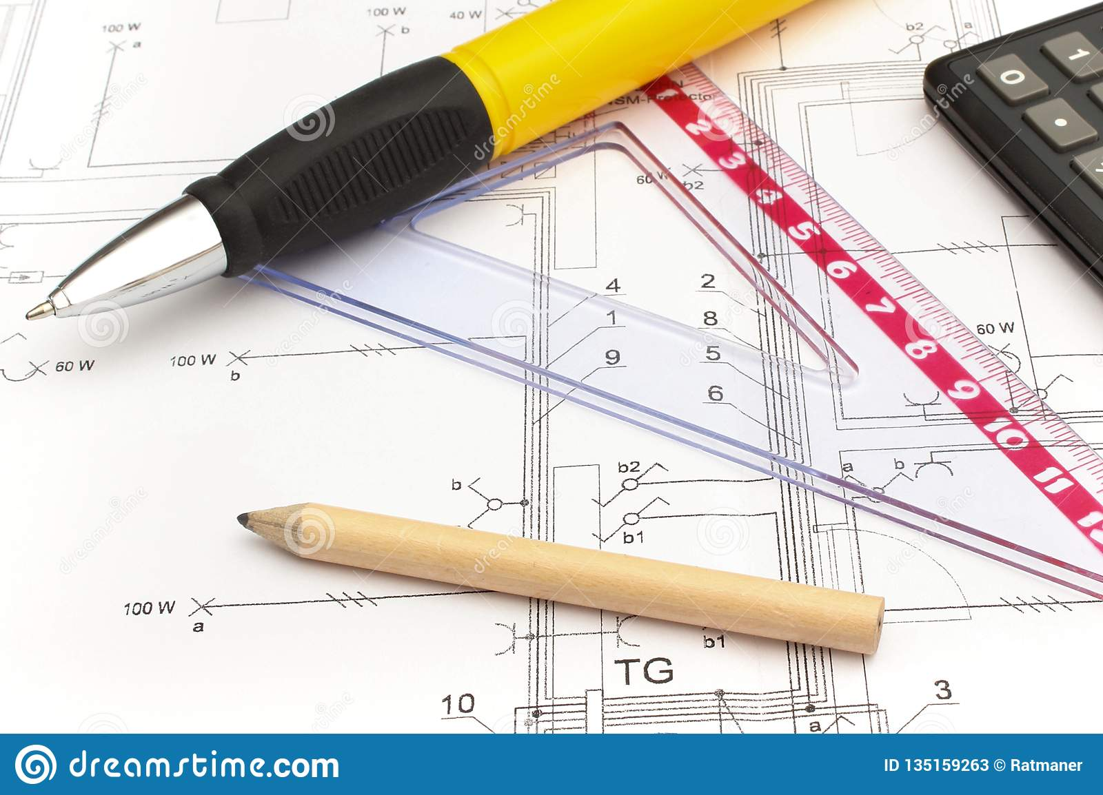 hight resolution of drawing accesories and calculator on housing plan building home cost concept