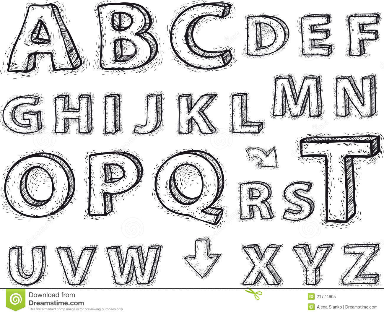 Drawing The Alphabet Letters Are Not Background Stock