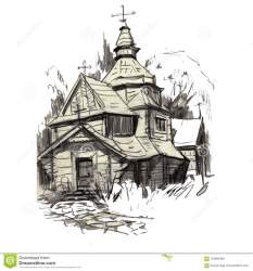 sketch medieval church drawing landscape handmade ancient structures architectural wooden building architecture preview decorative
