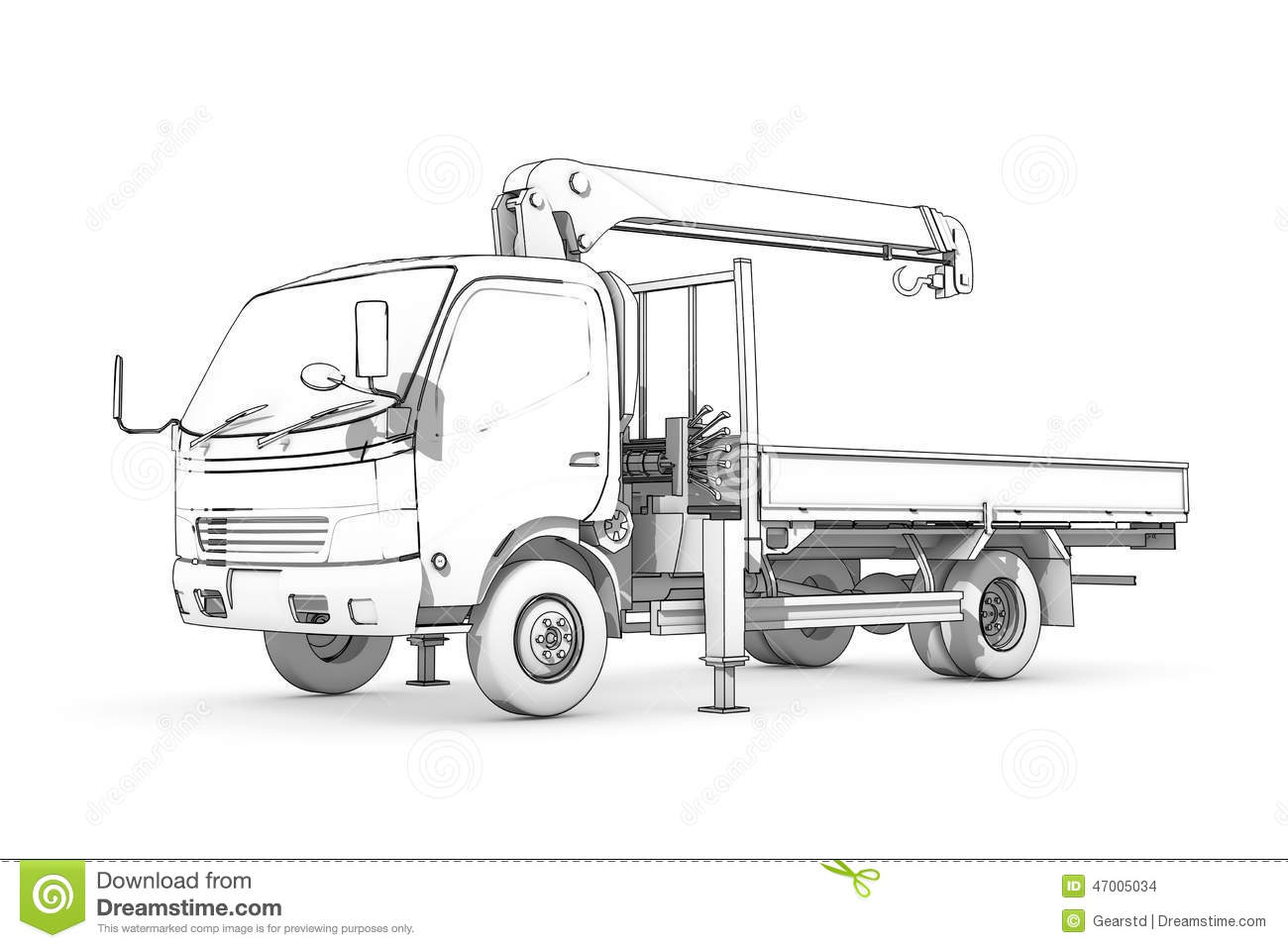 Drawing Black And White Sketch Of Loader Stock
