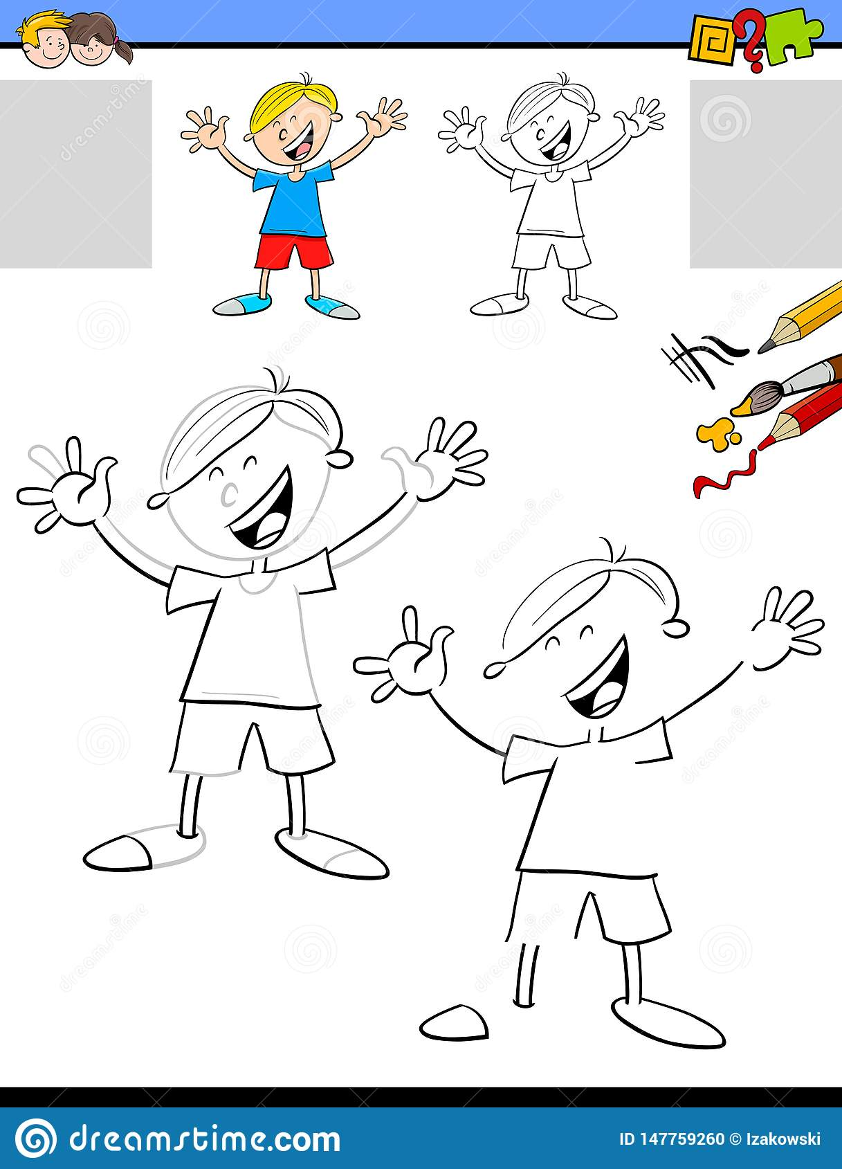 Drawing And Coloring Worksheet With Boy Stock Vector