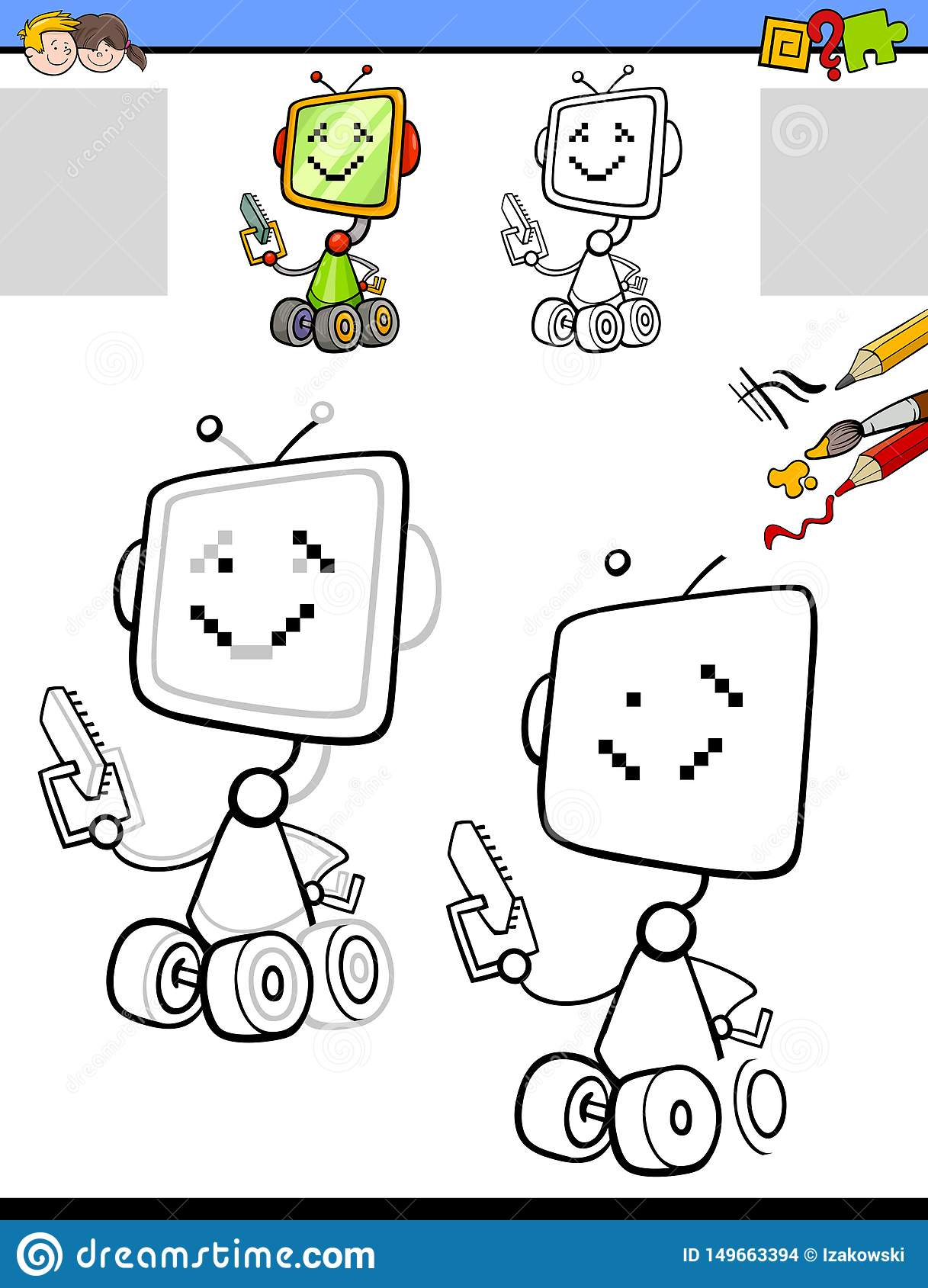 Drawing And Coloring Worksheet With Cartoon Robot Stock