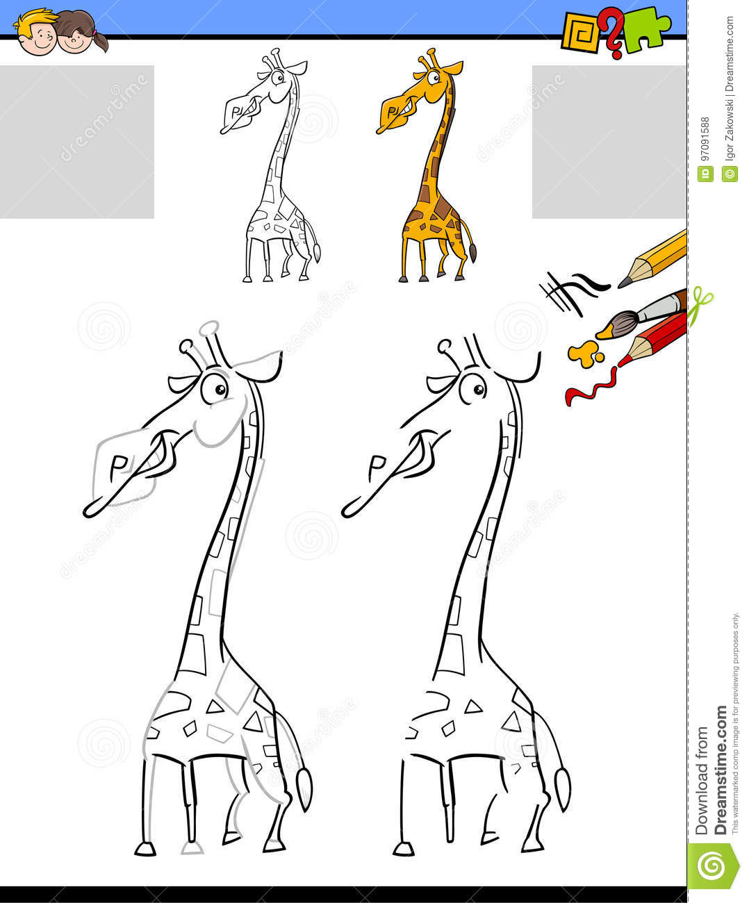Drawing And Coloring Worksheet With Giraffe Stock Vector