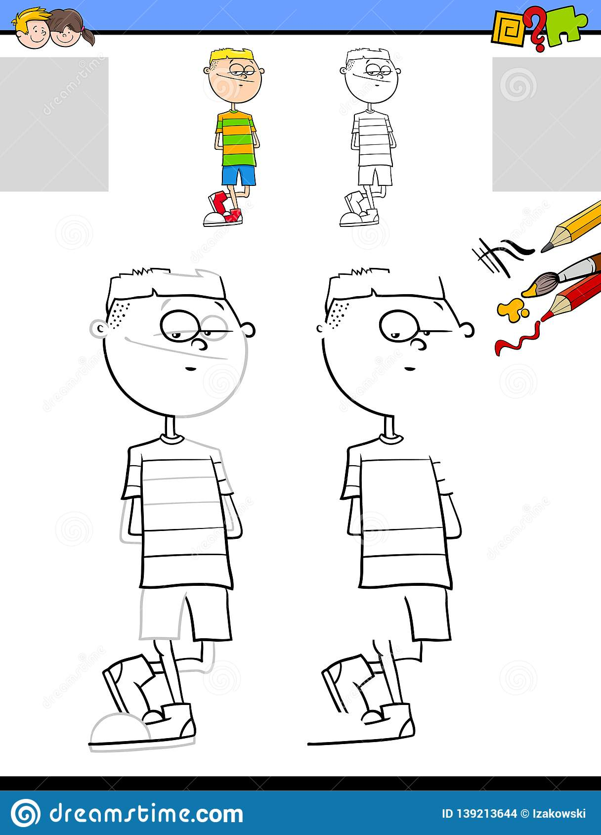 Drawing And Coloring Worksheet With Teen Boy Stock Vector