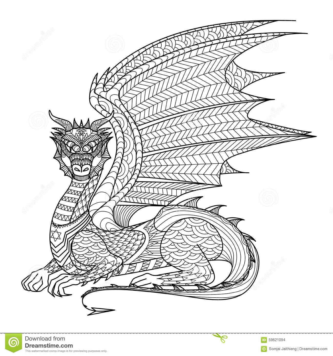 Drawing Dragon For Coloring Book. Stock Vector