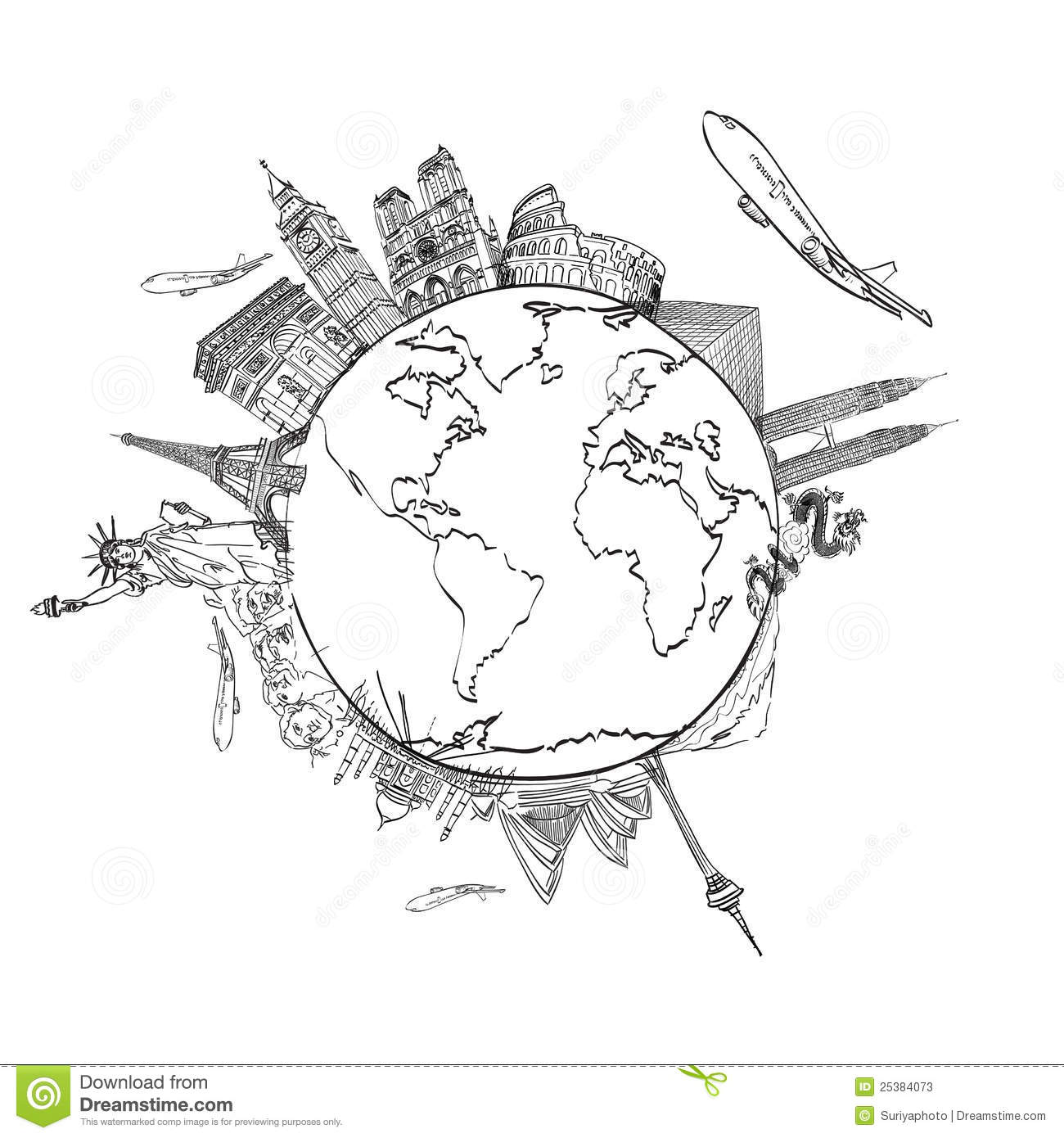 Drawing The Dream Travel Around The World Stock