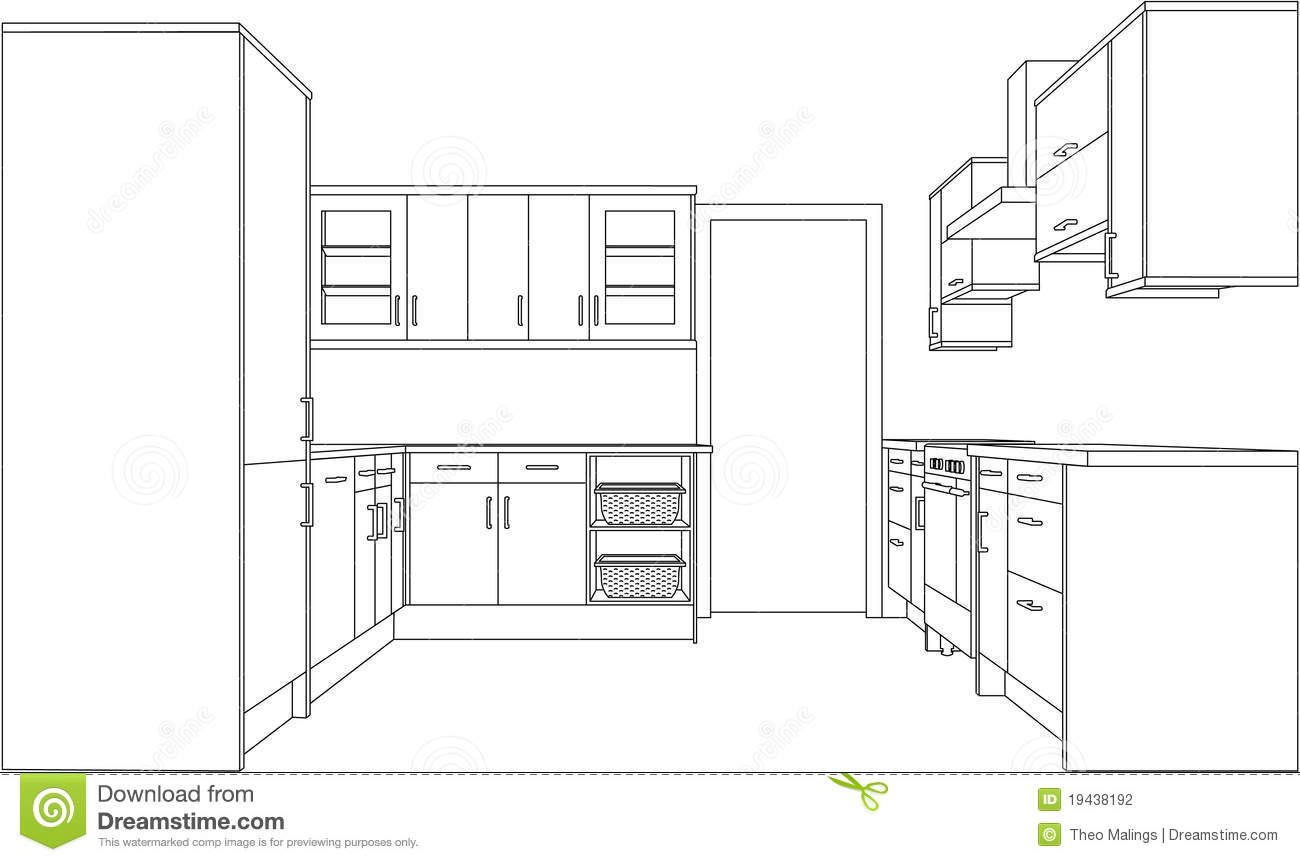 Drawing Of A Fitted Kitchen Stock Vector  Illustration of