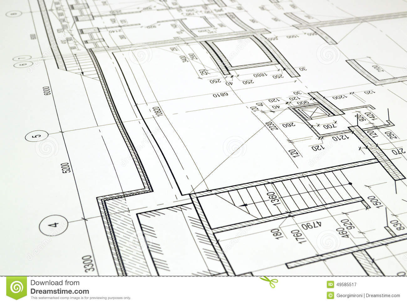 Drawing A Floor Plan Of The Building Stock Photo