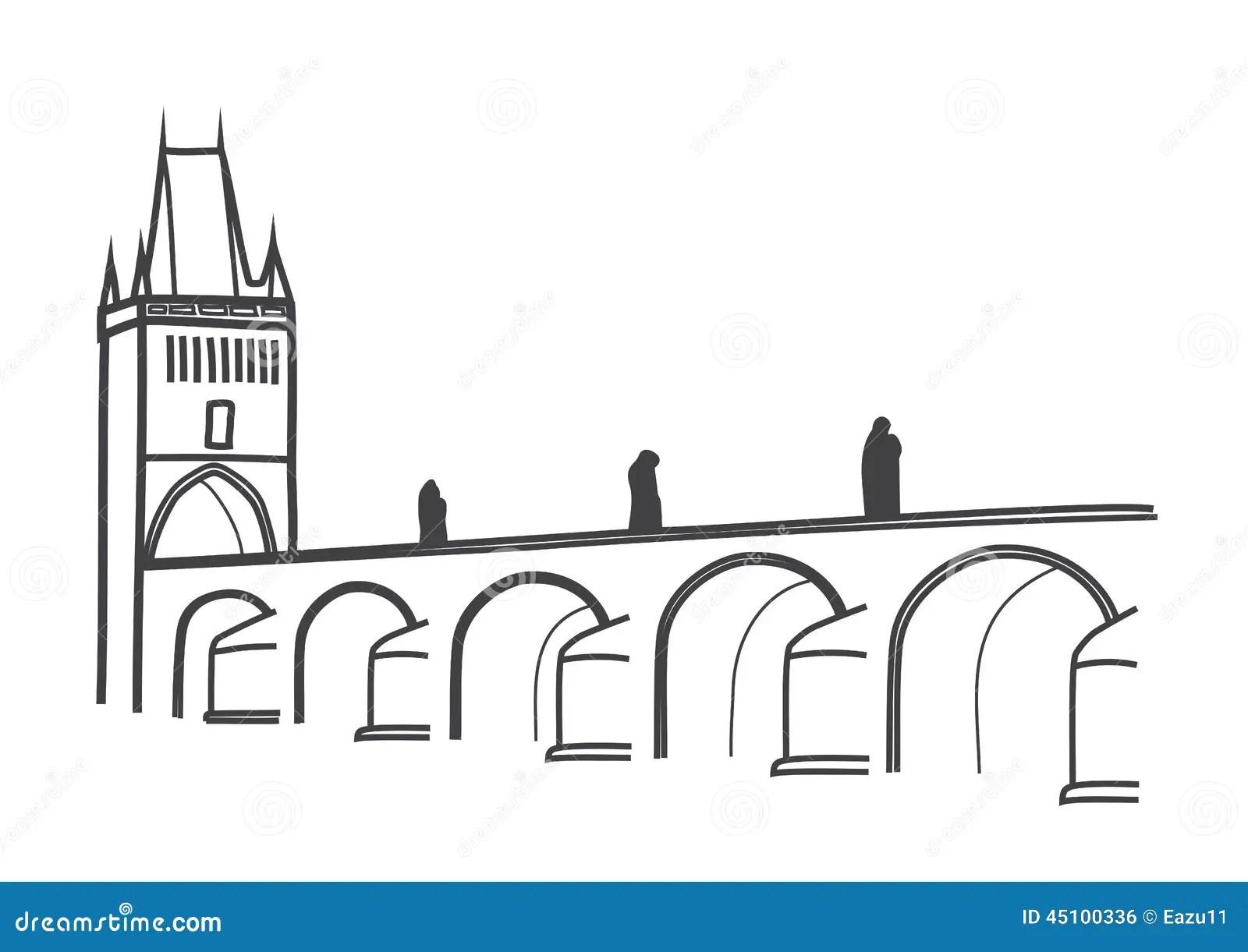 Drawing Of Historical Charles Bridge Prague Stock