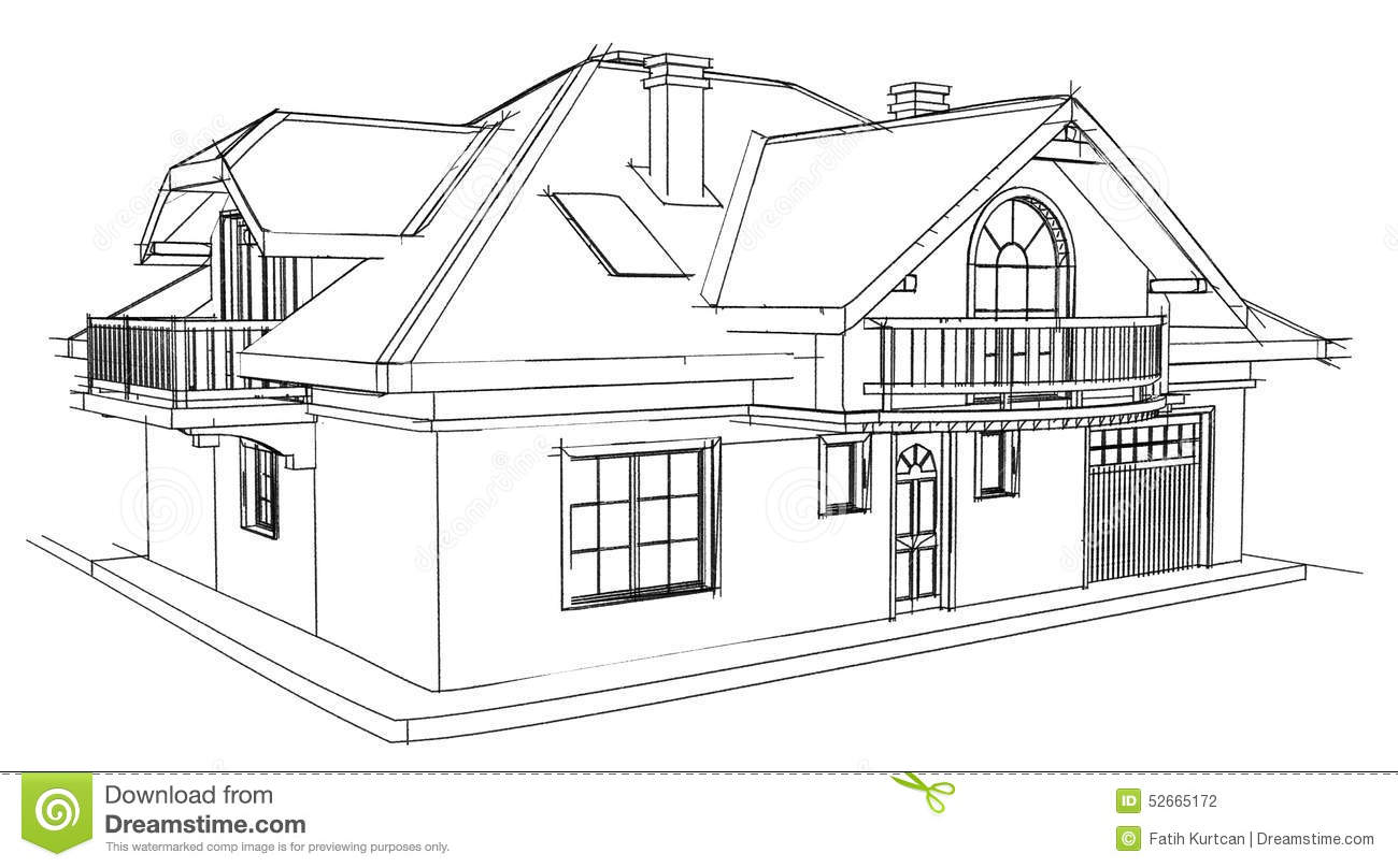 Drawing Home Stock Illustration
