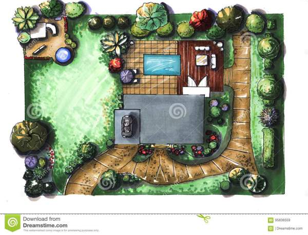 drawing house garden cottage