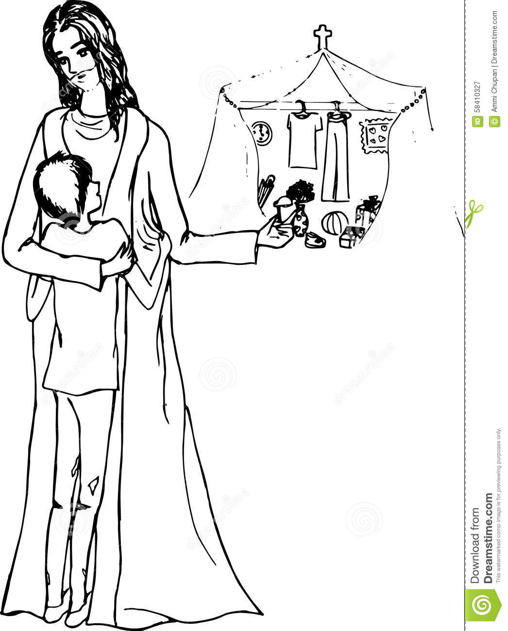 Drawing Of Jesus And Son Line Art Stock Illustration