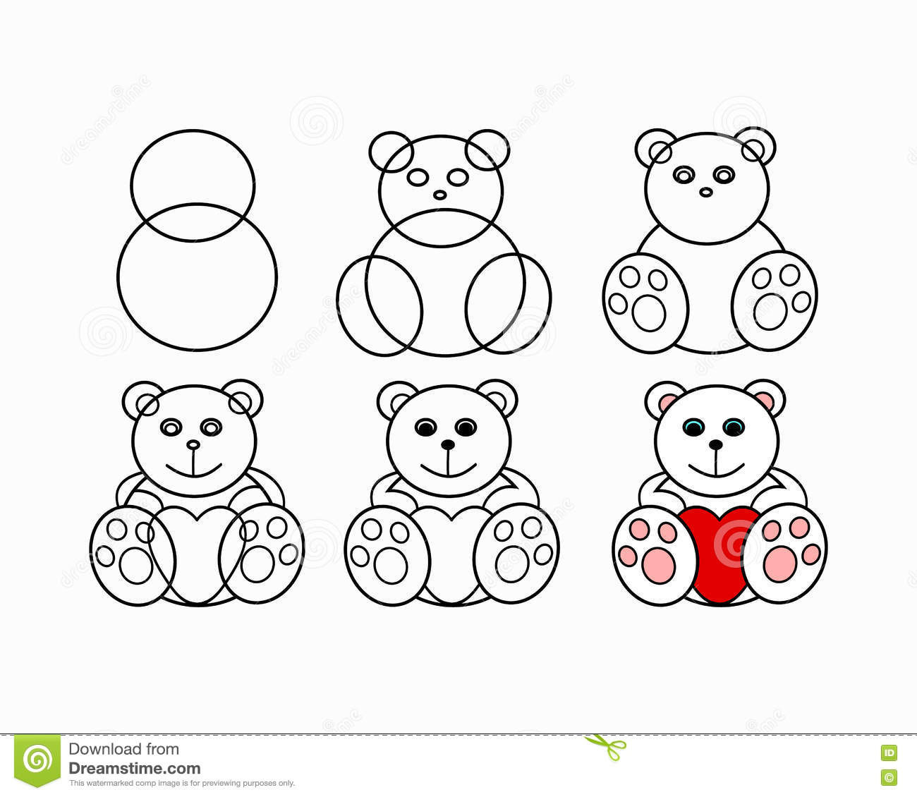 Drawing lesson bear stock vector. Illustration of hand