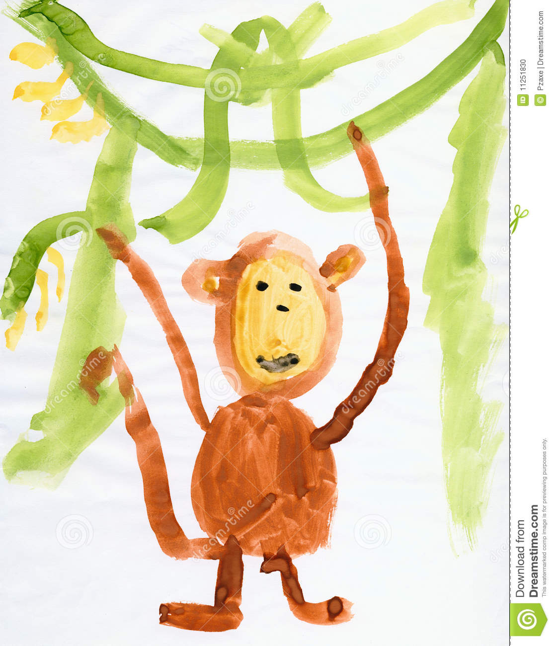 Drawing Made Child Monkey And Green Lianas Stock Photo Image 11251830