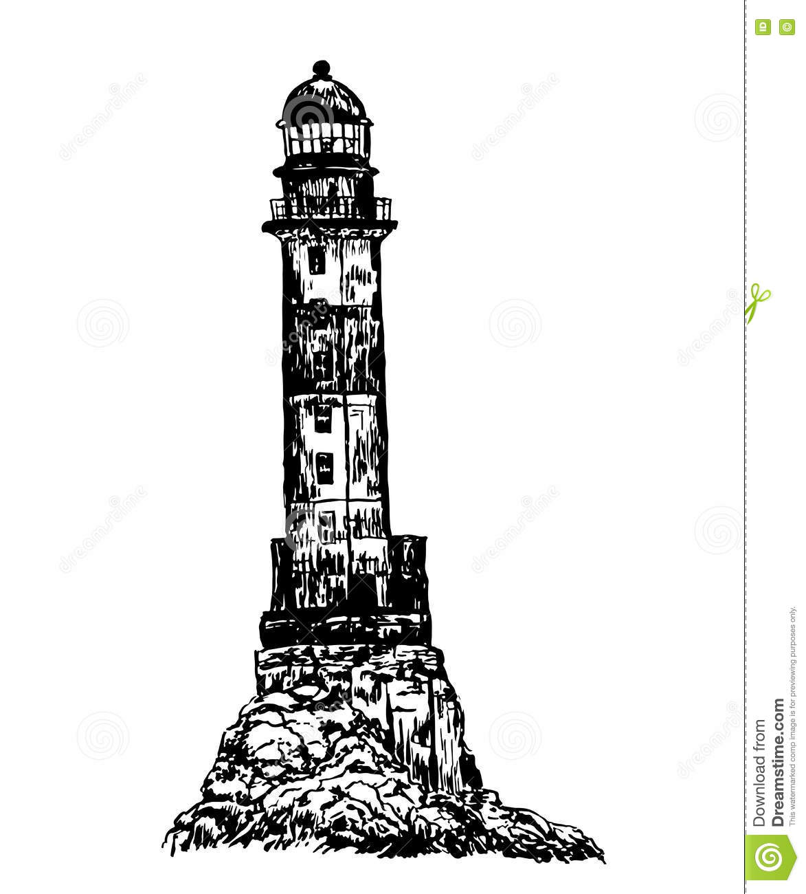 Lighthouse Drawing Vector Illustration
