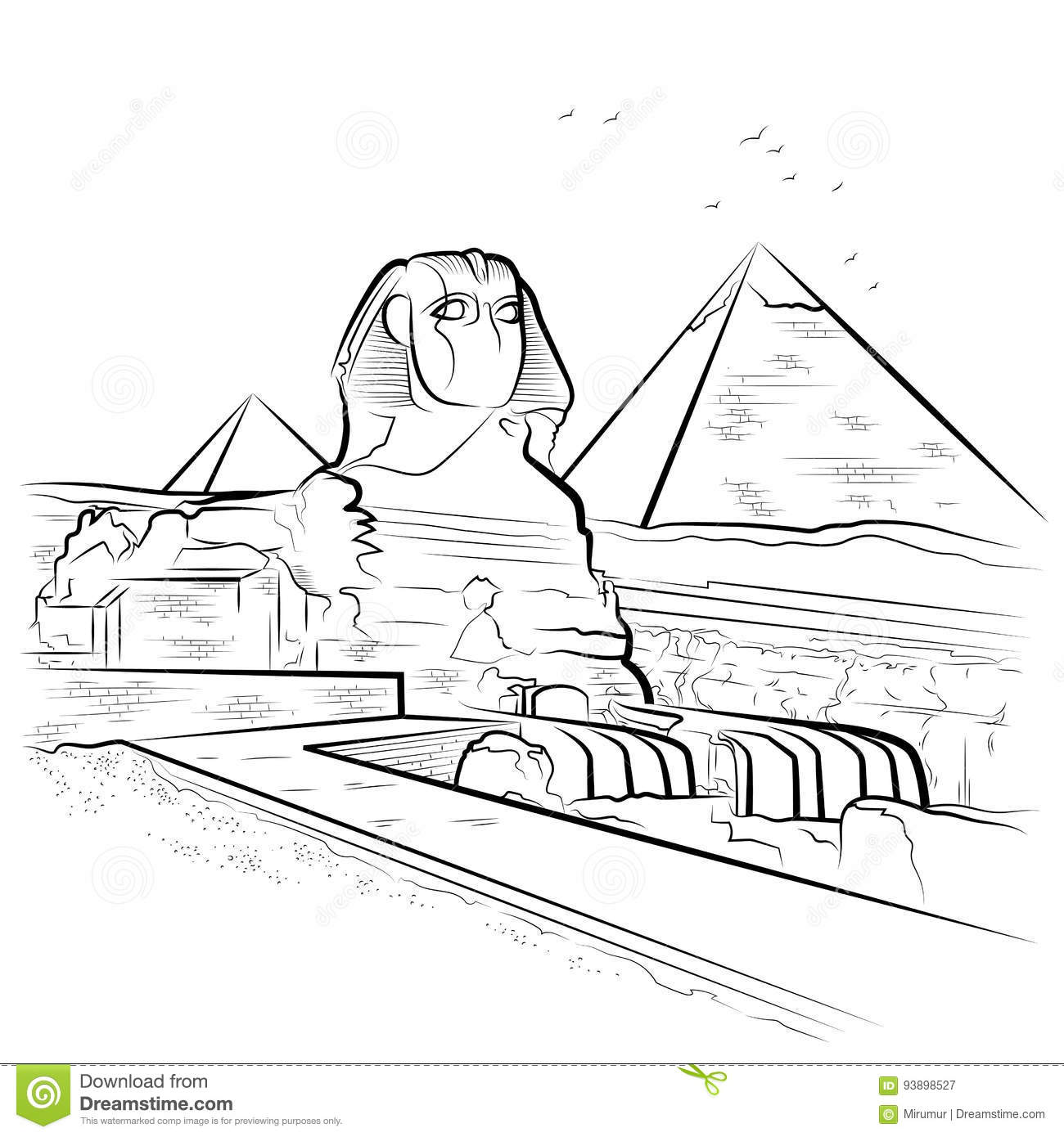 Drawing Pyramids And Sphinx In Giza Egypt Stock Vector