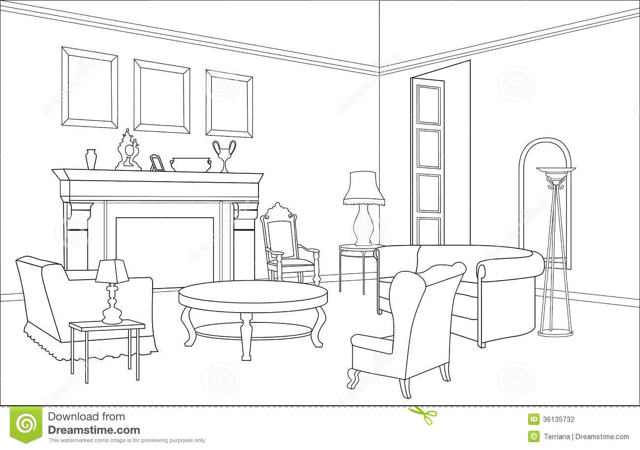 Drawing Room With Fireplace Editable Furniture Interior