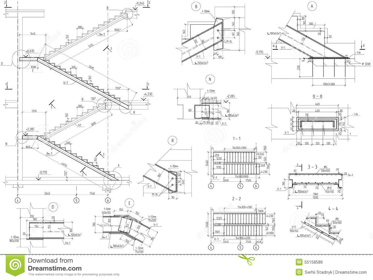 drawing stairs uzi section stock illustration