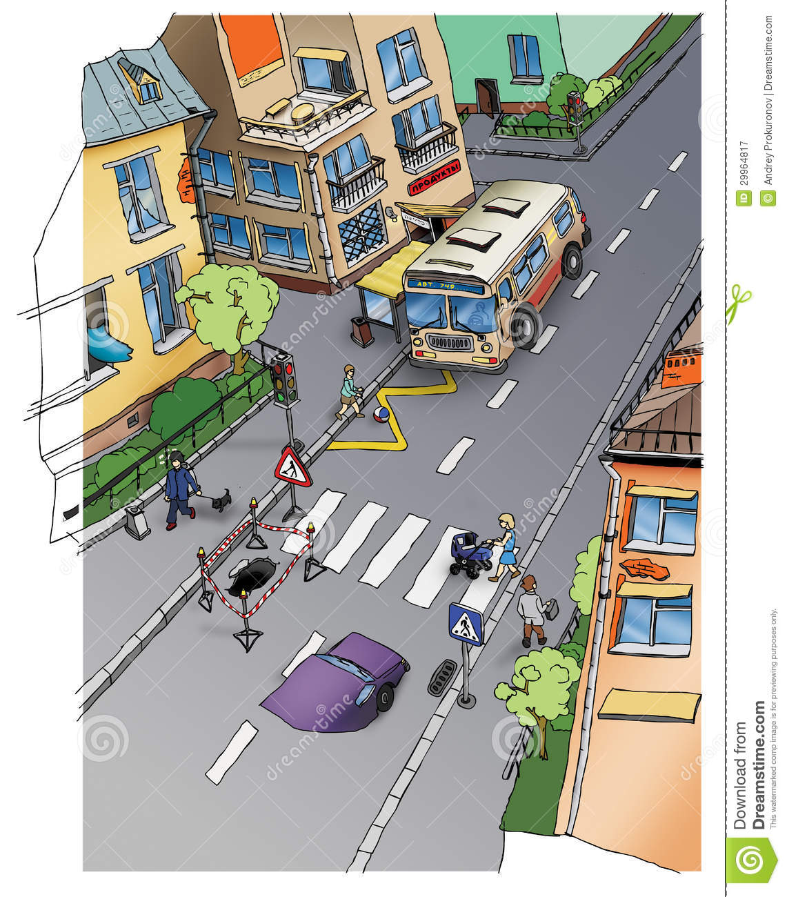 Road Safety Street Drawing Stock Illustration