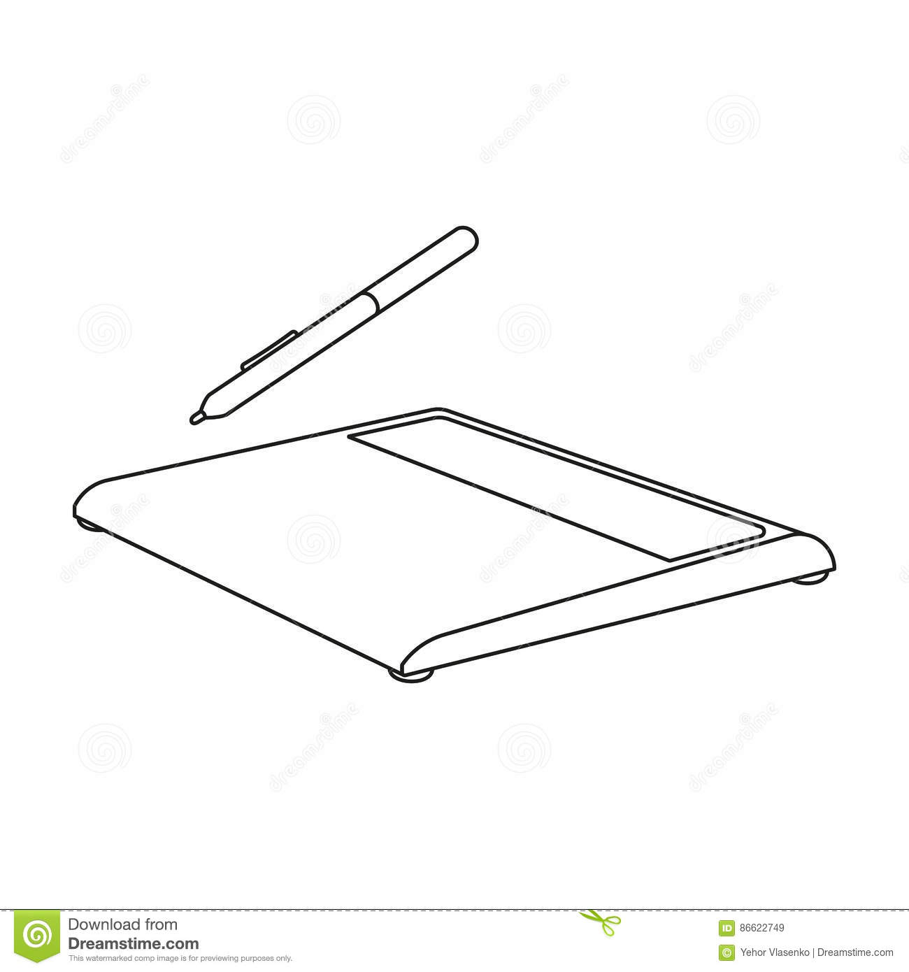 Drawing Tablet Icon In Outline Style Isolated On White